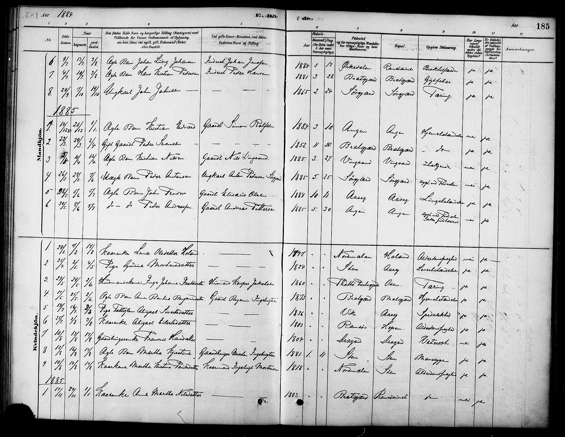 SAT, Ministerialprotokoller, klokkerbøker og fødselsregistre - Sør-Trøndelag, 658/L0722: Ministerialbok nr. 658A01, 1879-1896, s. 185