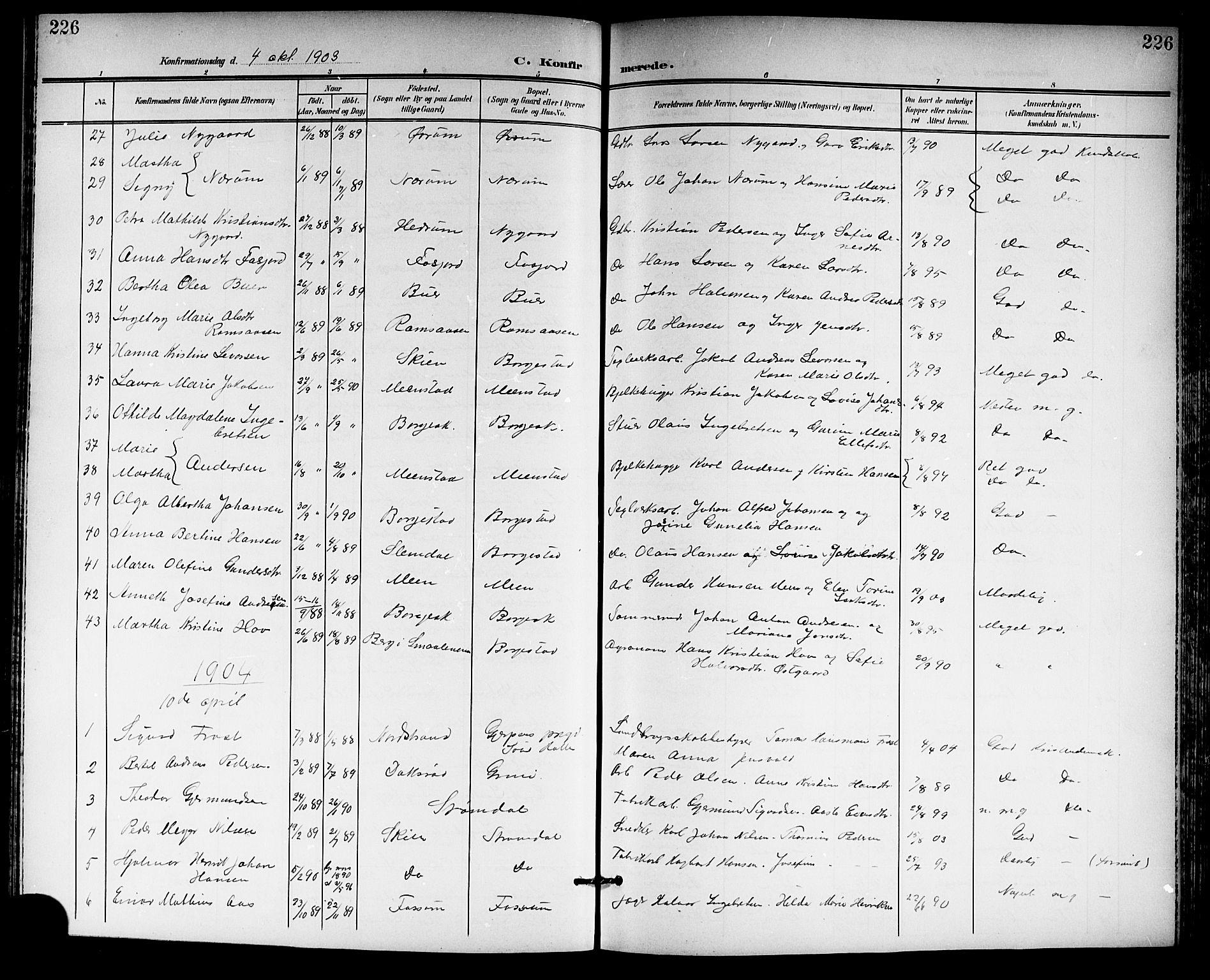 SAKO, Gjerpen kirkebøker, G/Ga/L0003: Klokkerbok nr. I 3, 1901-1919, s. 226
