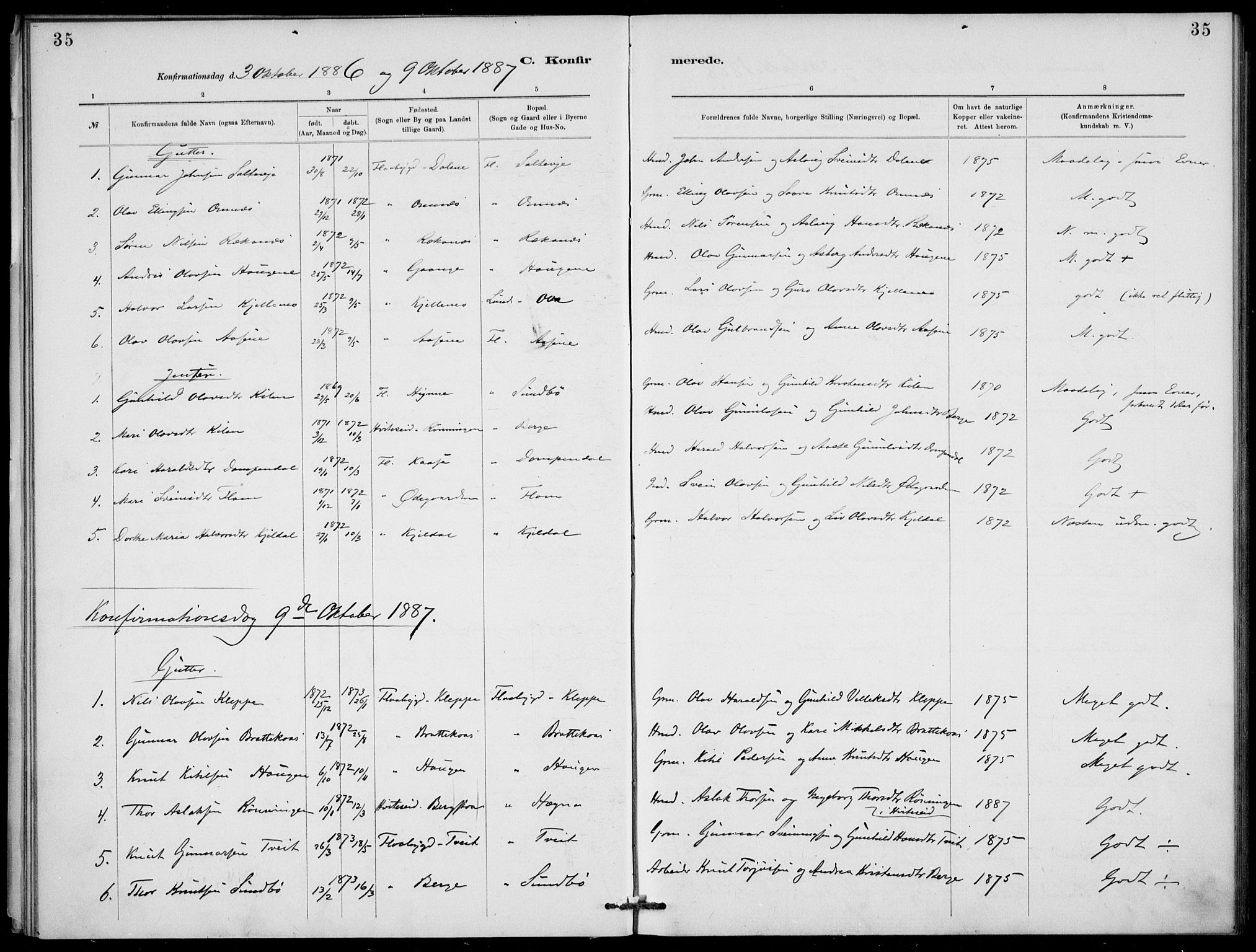 SAKO, Lunde kirkebøker, F/Fb/L0003: Ministerialbok nr. II 3, 1882-1891, s. 35