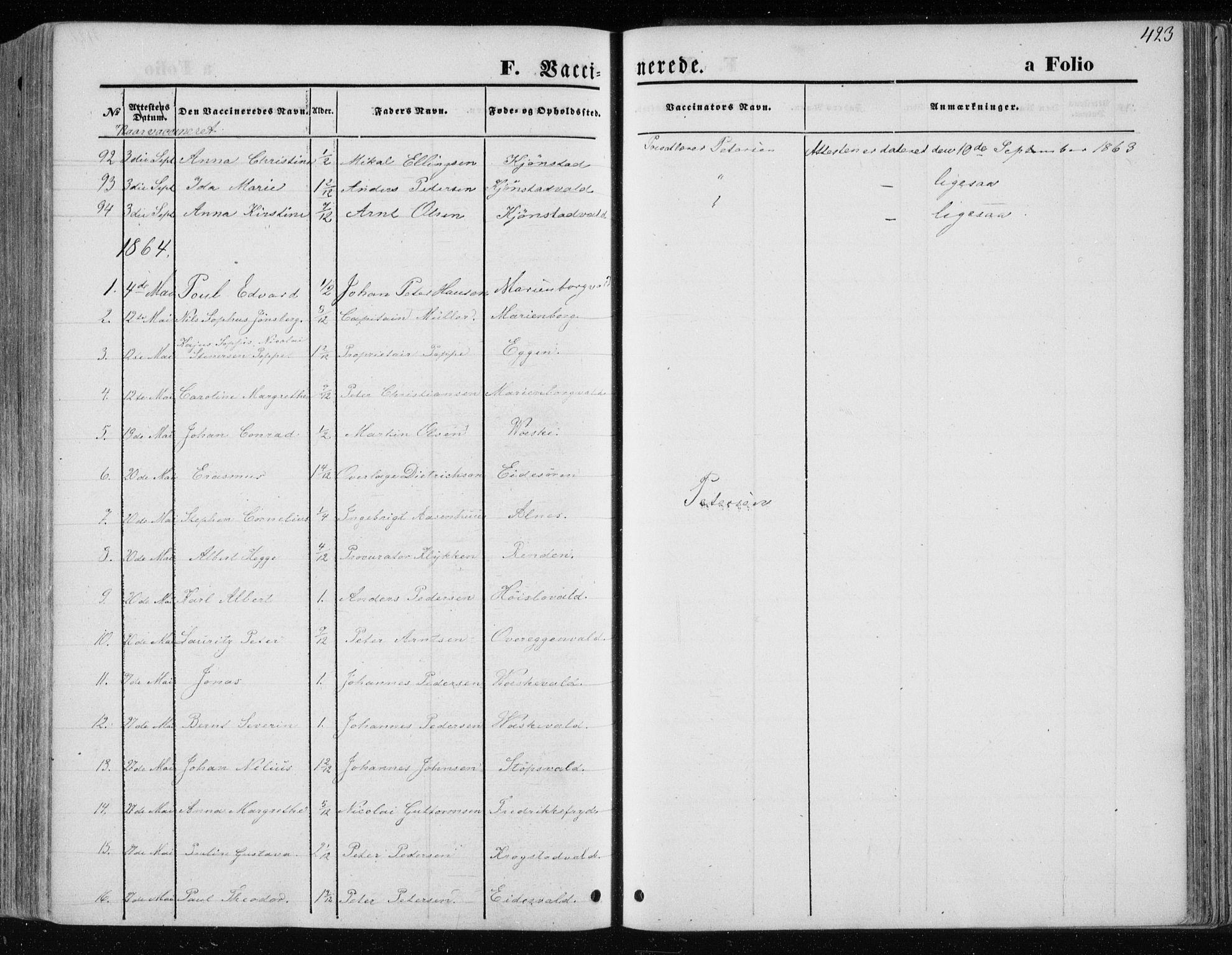 SAT, Ministerialprotokoller, klokkerbøker og fødselsregistre - Nord-Trøndelag, 717/L0157: Ministerialbok nr. 717A08 /1, 1863-1877, s. 423