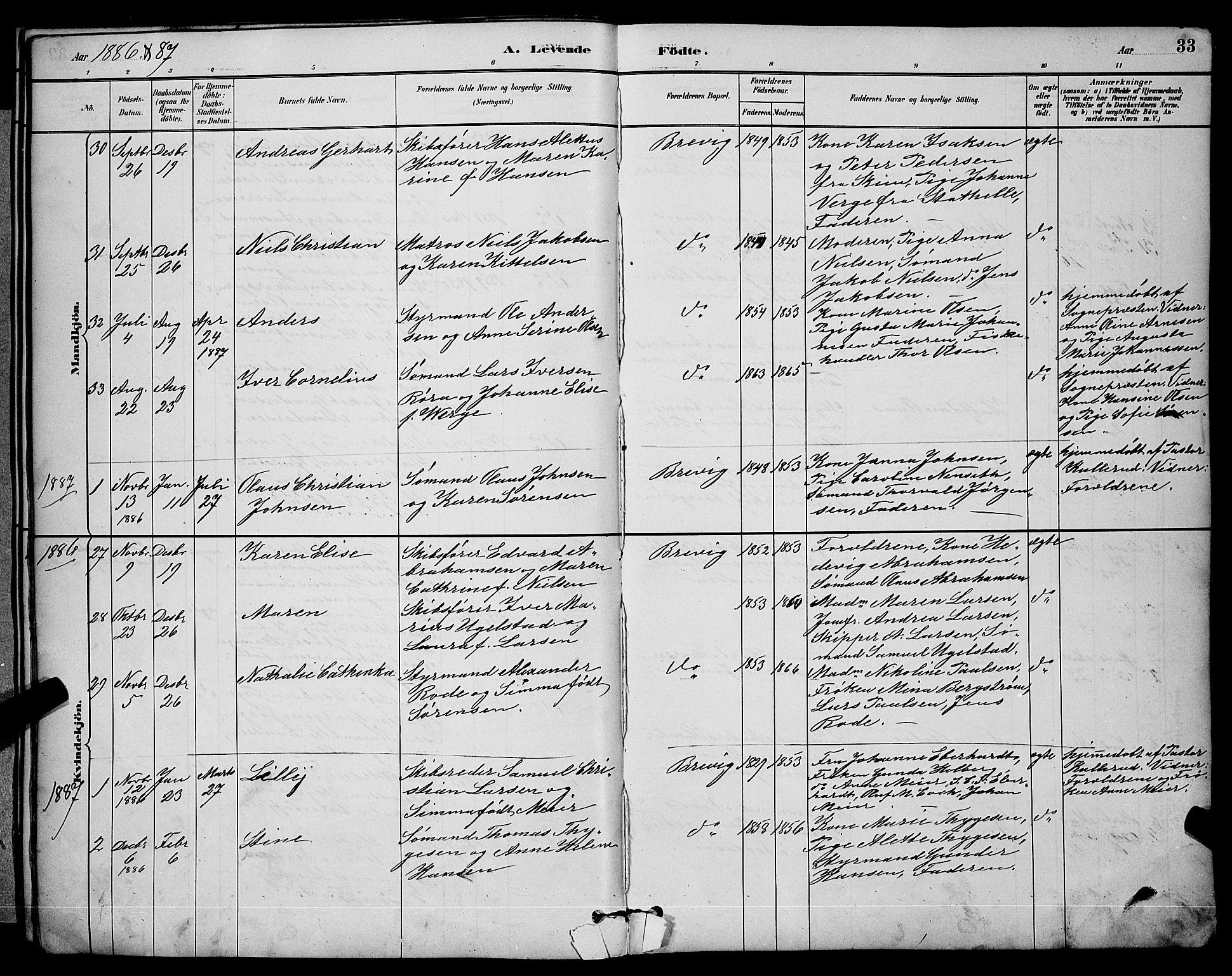 SAKO, Brevik kirkebøker, G/Ga/L0004: Klokkerbok nr. 4, 1882-1900, s. 33