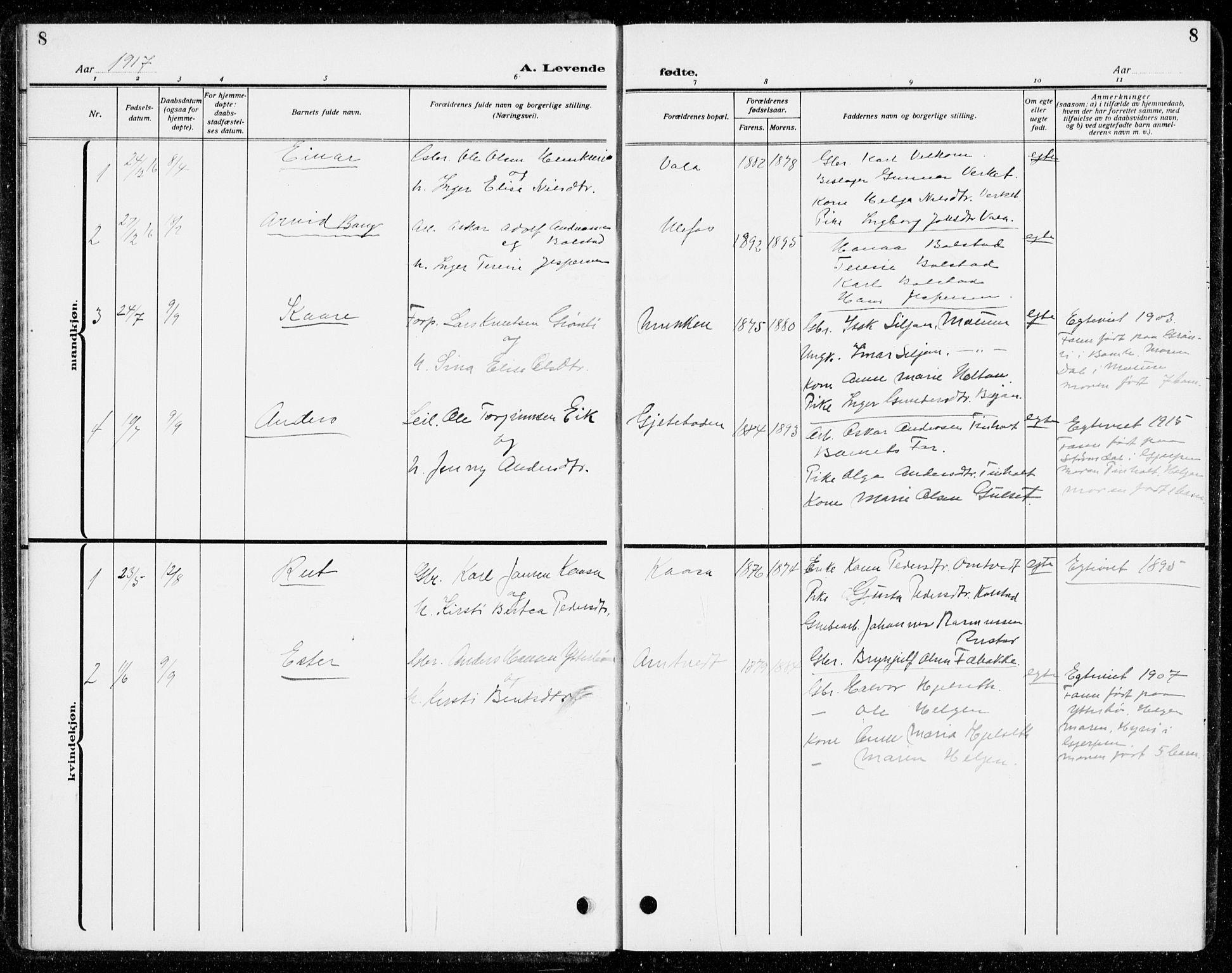 SAKO, Holla kirkebøker, G/Gb/L0003: Klokkerbok nr. II 3, 1914-1941, s. 8