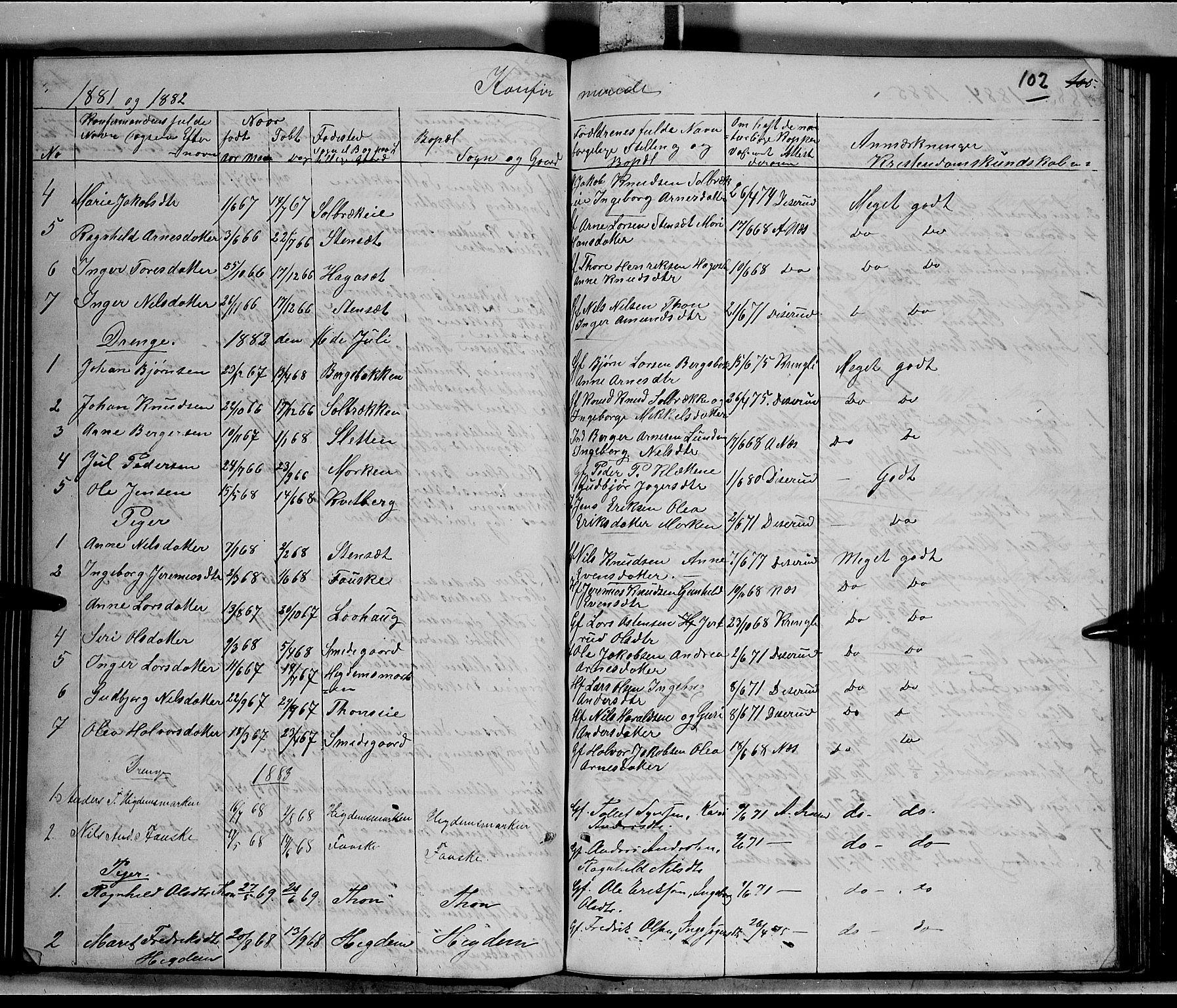 SAH, Nord-Aurdal prestekontor, Klokkerbok nr. 5, 1876-1895, s. 102