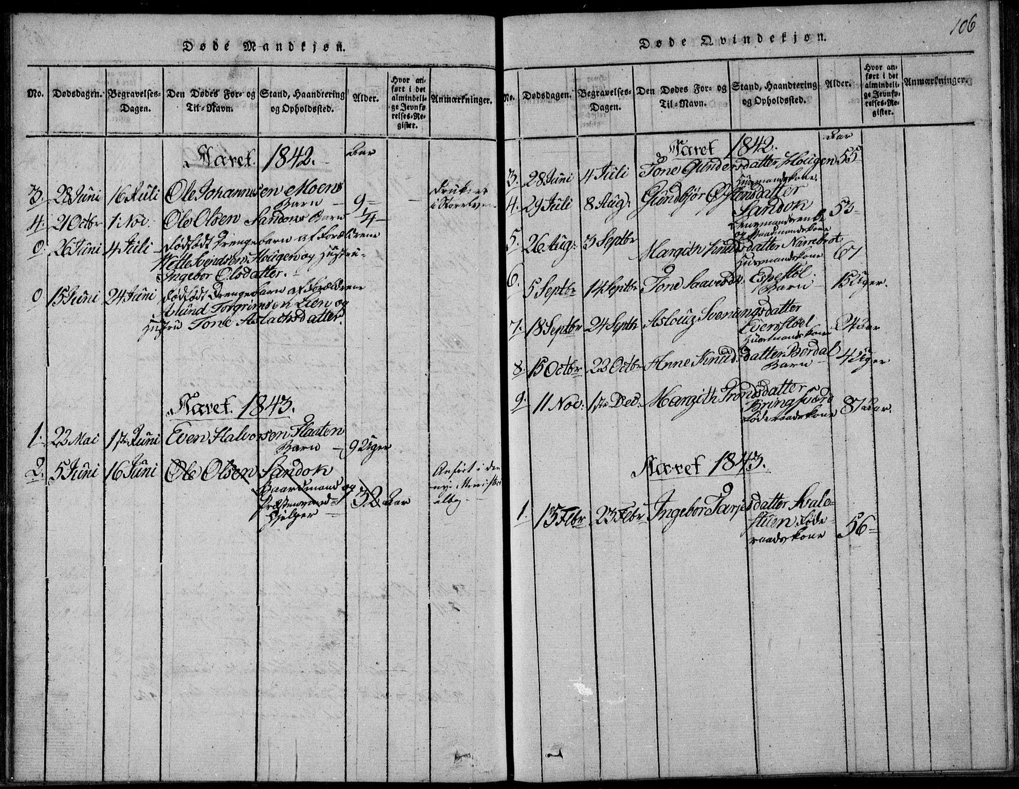 SAKO, Vinje kirkebøker, F/Fb/L0001: Ministerialbok nr. II 1, 1814-1843, s. 106
