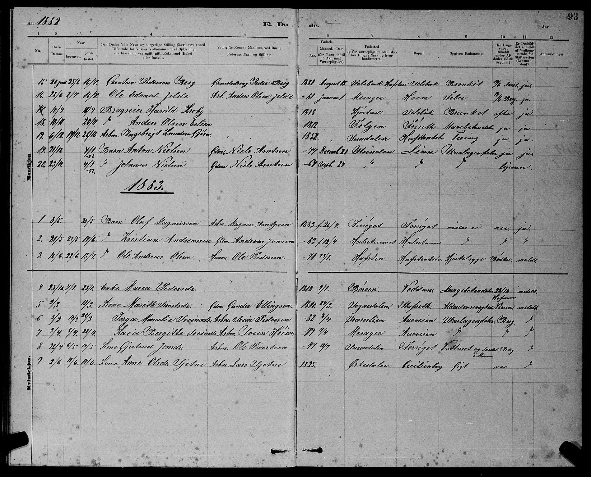 SAT, Ministerialprotokoller, klokkerbøker og fødselsregistre - Sør-Trøndelag, 611/L0354: Klokkerbok nr. 611C02, 1881-1896, s. 93