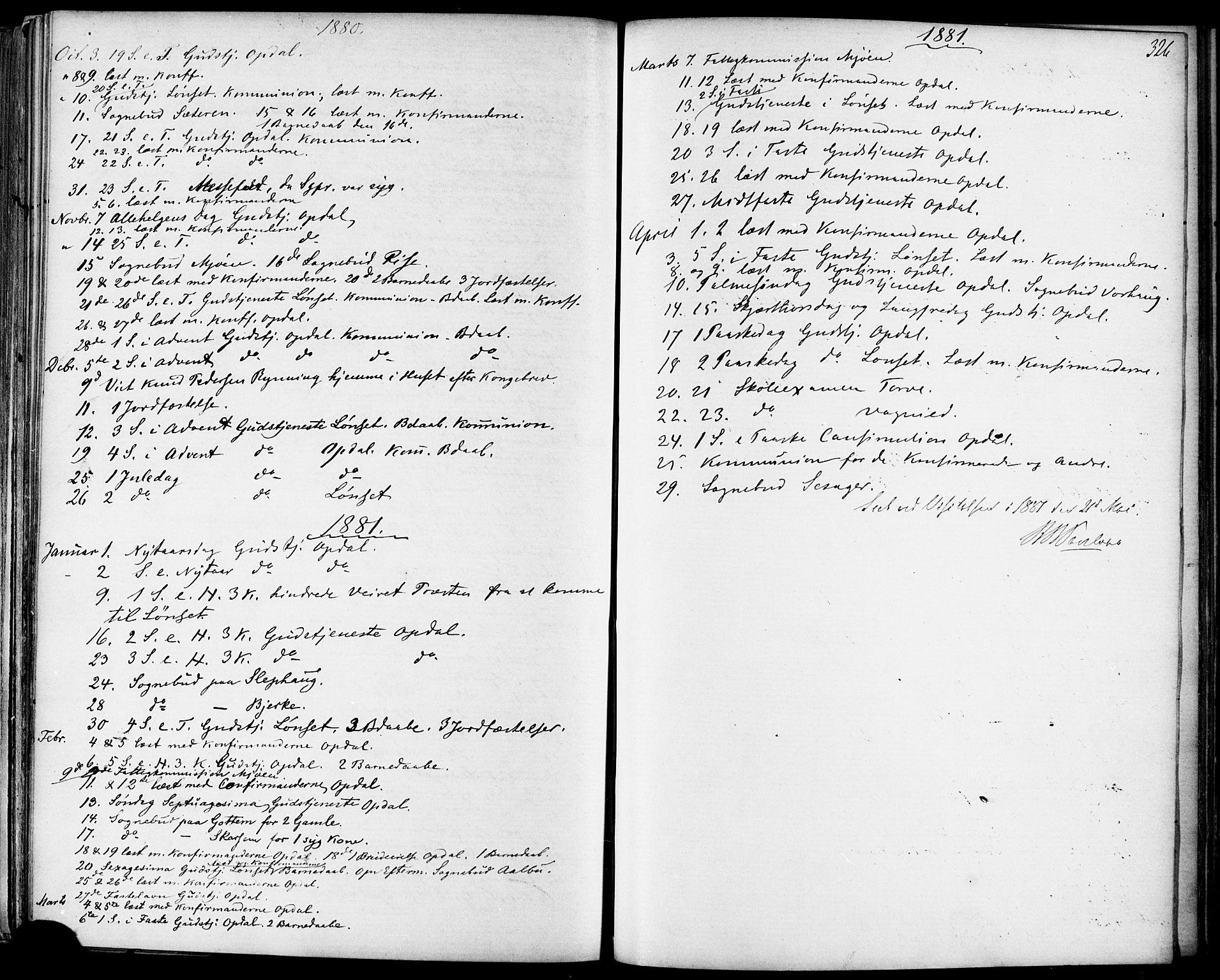 SAT, Ministerialprotokoller, klokkerbøker og fødselsregistre - Sør-Trøndelag, 678/L0900: Ministerialbok nr. 678A09, 1872-1881, s. 326