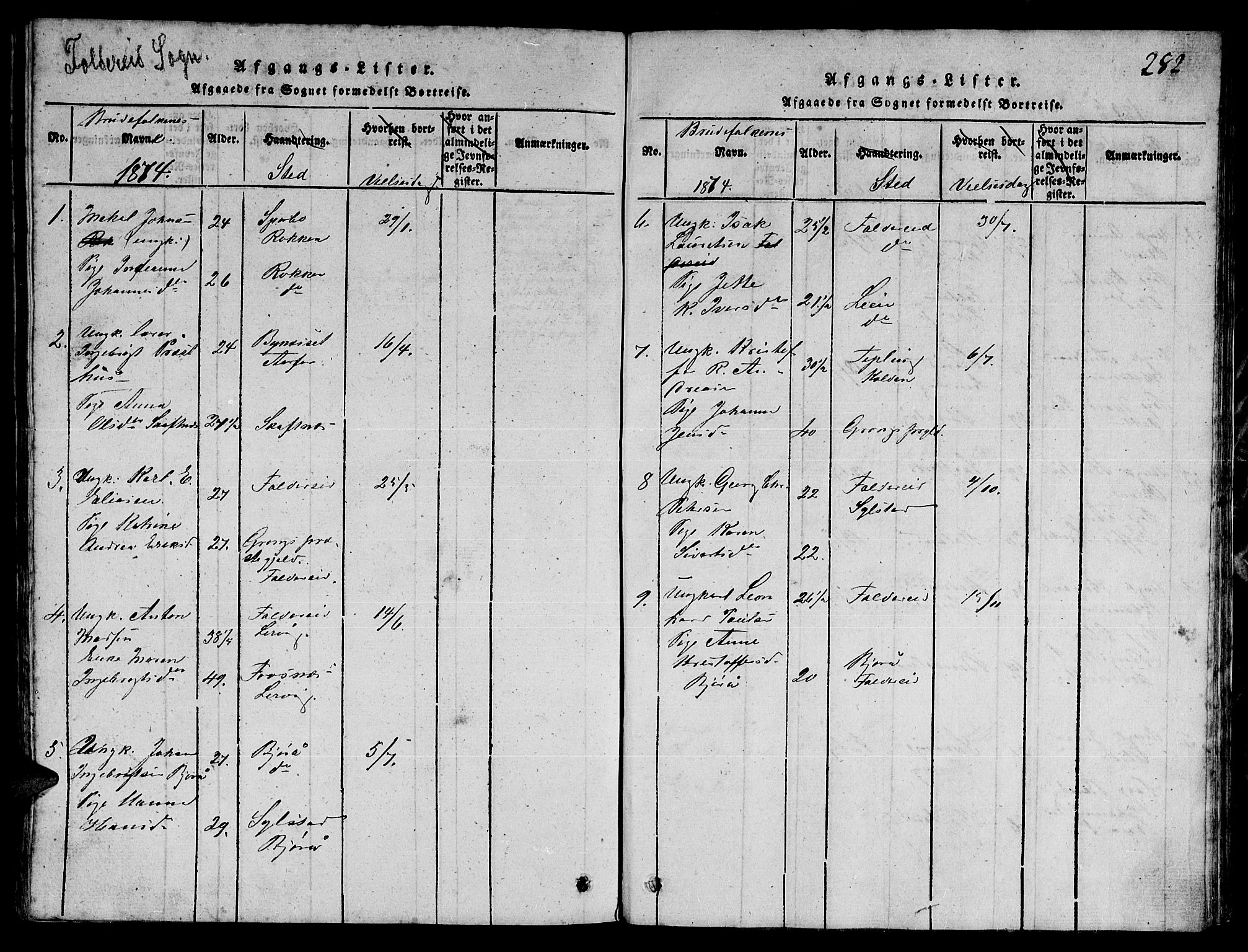 SAT, Ministerialprotokoller, klokkerbøker og fødselsregistre - Nord-Trøndelag, 780/L0648: Klokkerbok nr. 780C01 /3, 1815-1877, s. 282