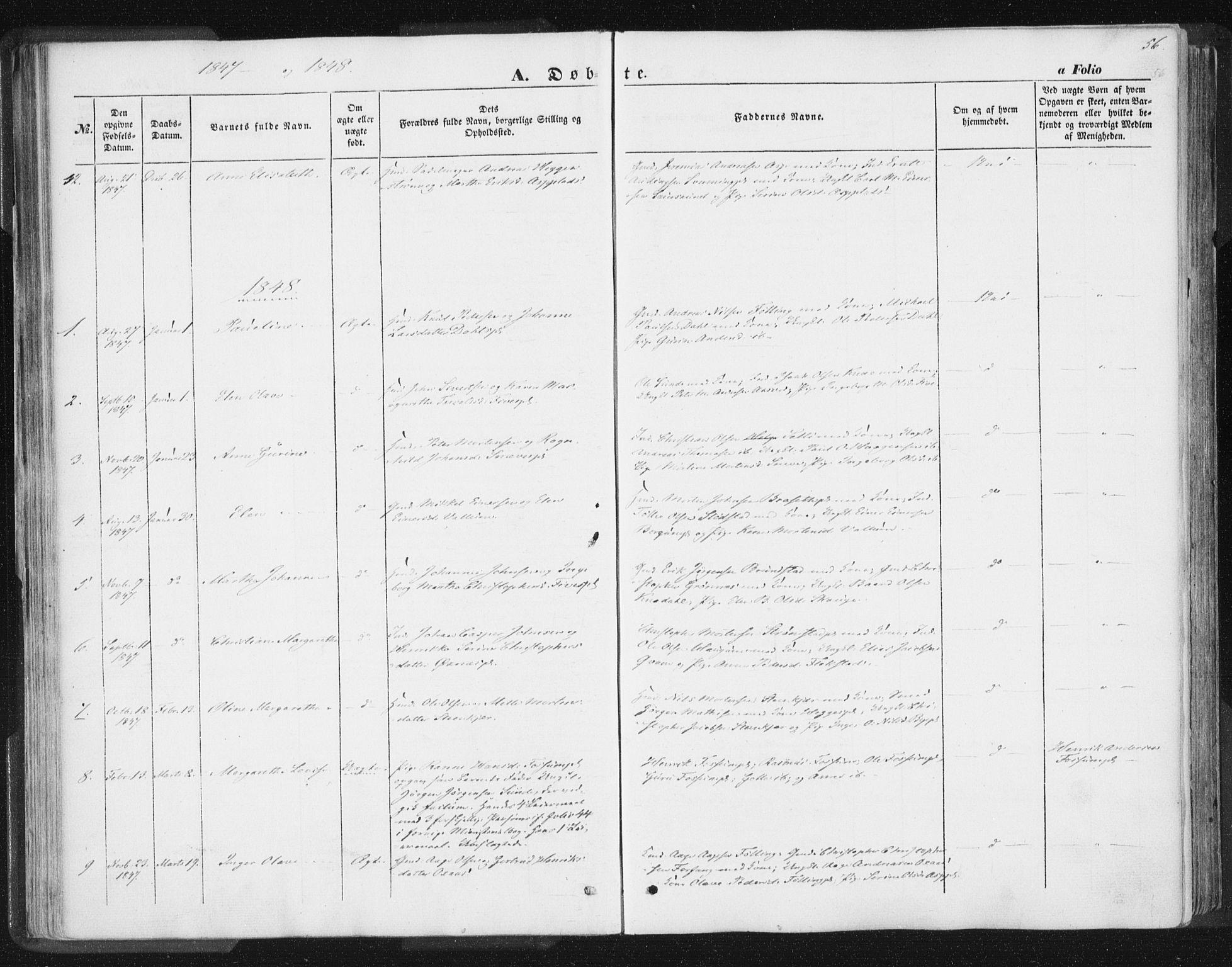 SAT, Ministerialprotokoller, klokkerbøker og fødselsregistre - Nord-Trøndelag, 746/L0446: Ministerialbok nr. 746A05, 1846-1859, s. 56