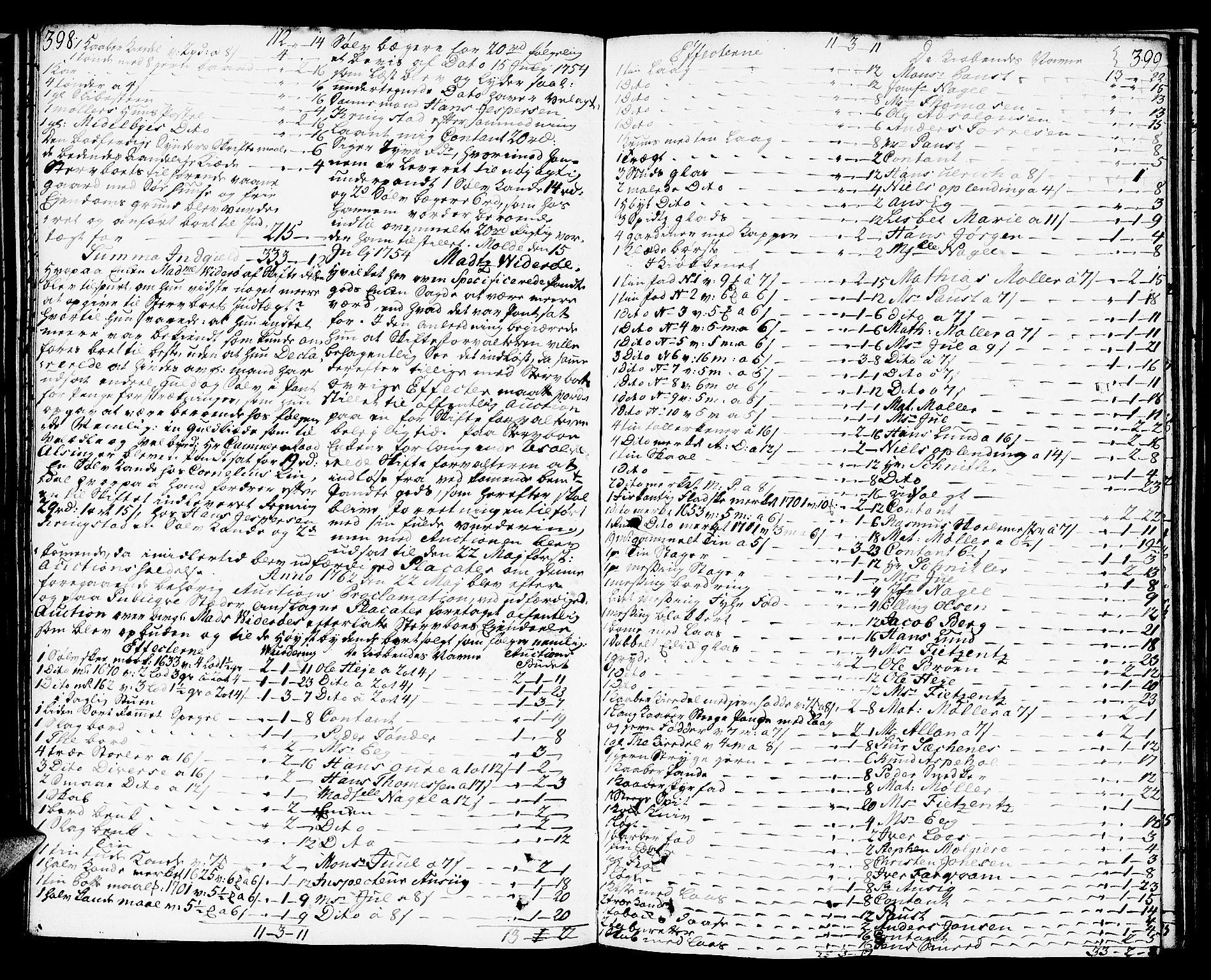 SAT, Molde byfogd, 3/3Aa/L0001: Skifteprotokoll, 1748-1768, s. 398-399