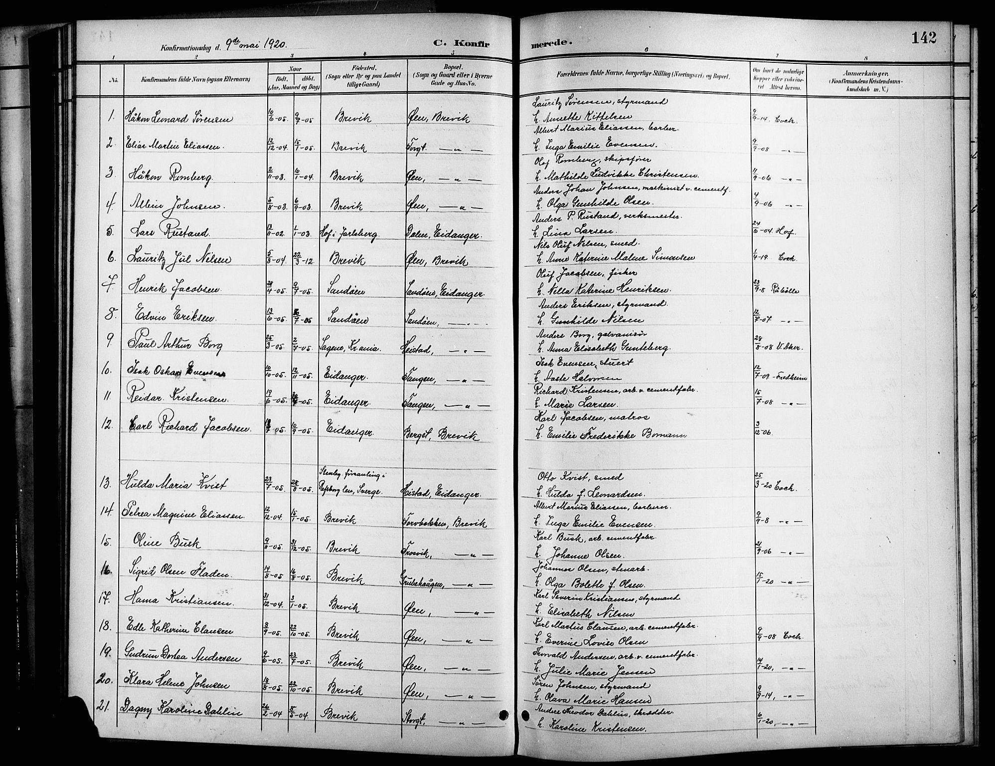 SAKO, Brevik kirkebøker, G/Ga/L0005: Klokkerbok nr. 5, 1901-1924, s. 142