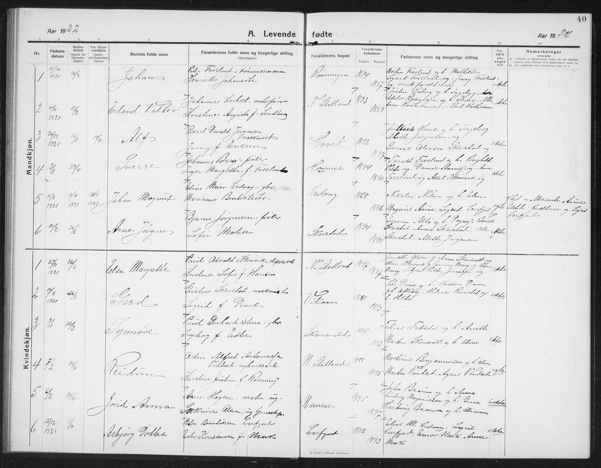 SAT, Ministerialprotokoller, klokkerbøker og fødselsregistre - Nord-Trøndelag, 774/L0630: Klokkerbok nr. 774C01, 1910-1934, s. 40