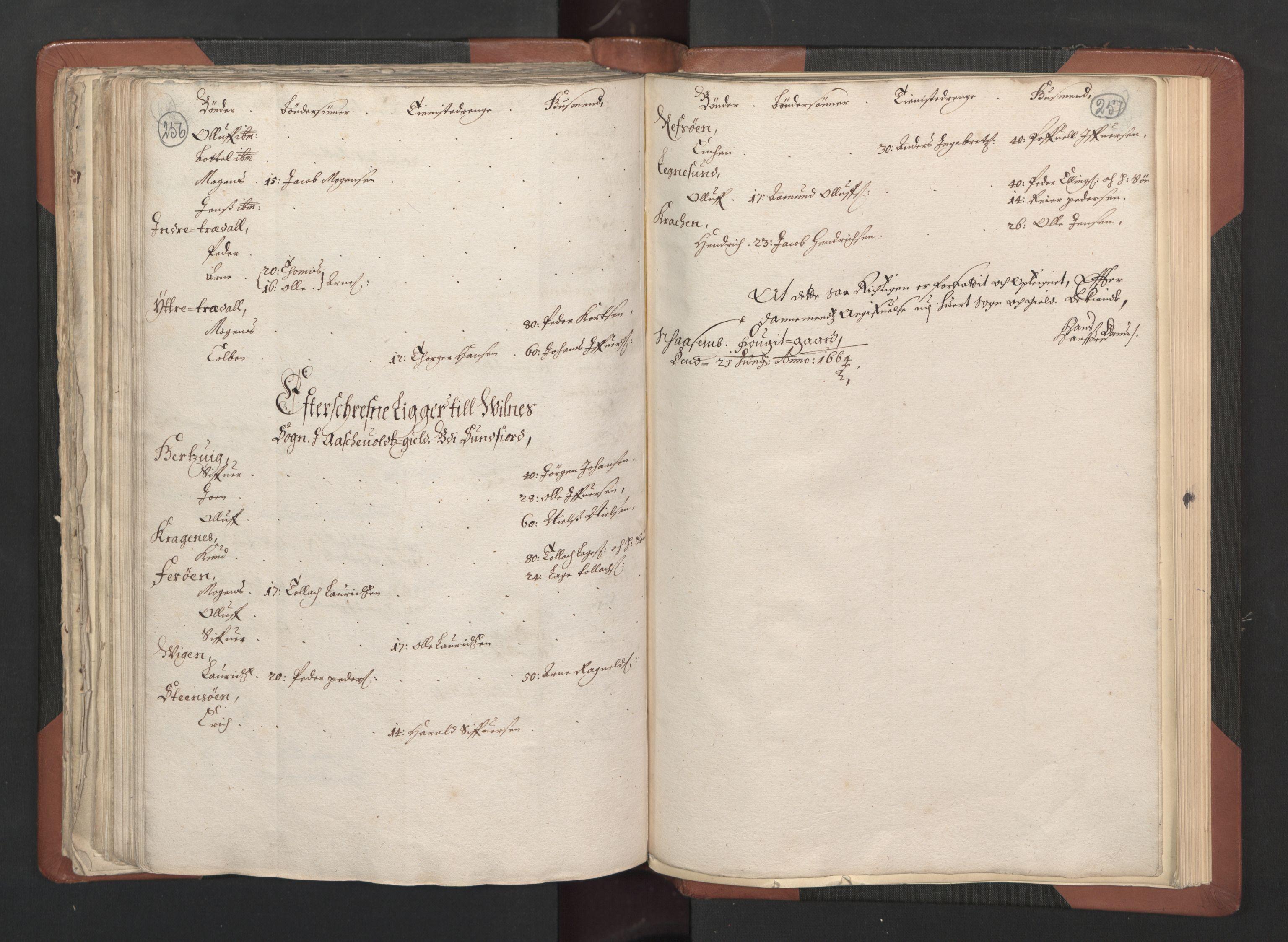 RA, Fogdenes og sorenskrivernes manntall 1664-1666, nr. 14: Hardanger len, Ytre Sogn fogderi og Indre Sogn fogderi, 1664-1665, s. 256-257