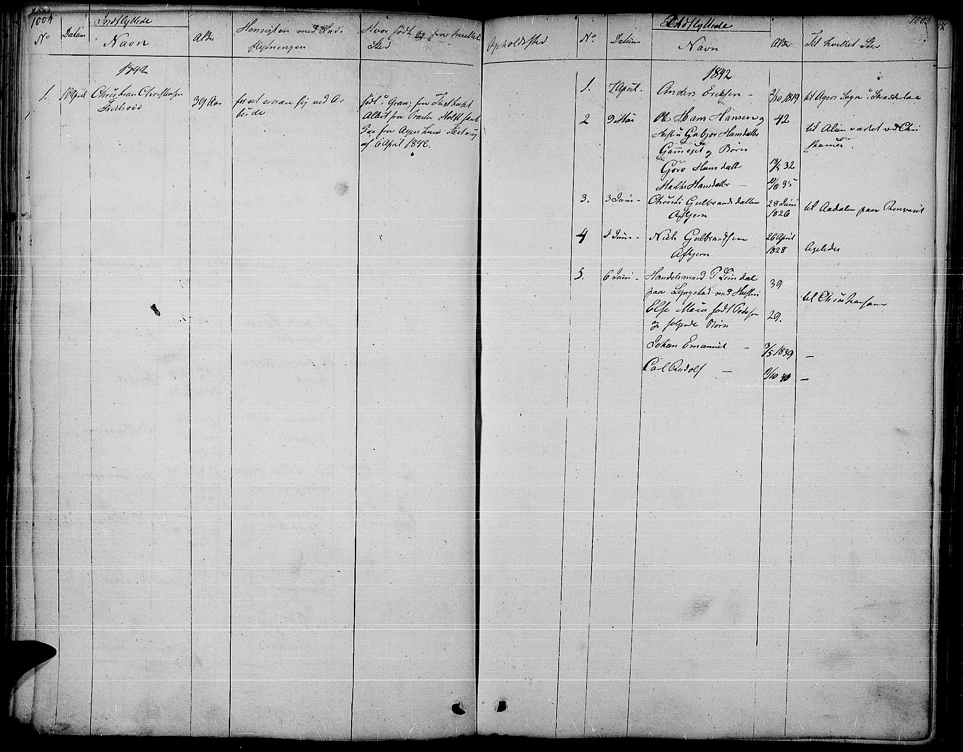 SAH, Gran prestekontor, Ministerialbok nr. 10, 1824-1842, s. 1004-1005