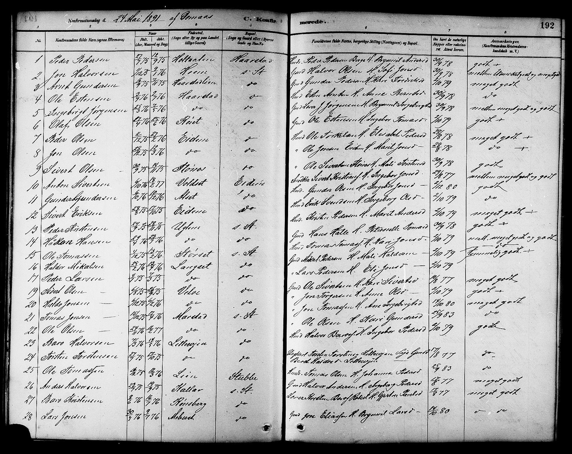 SAT, Ministerialprotokoller, klokkerbøker og fødselsregistre - Sør-Trøndelag, 695/L1157: Klokkerbok nr. 695C08, 1889-1913, s. 192