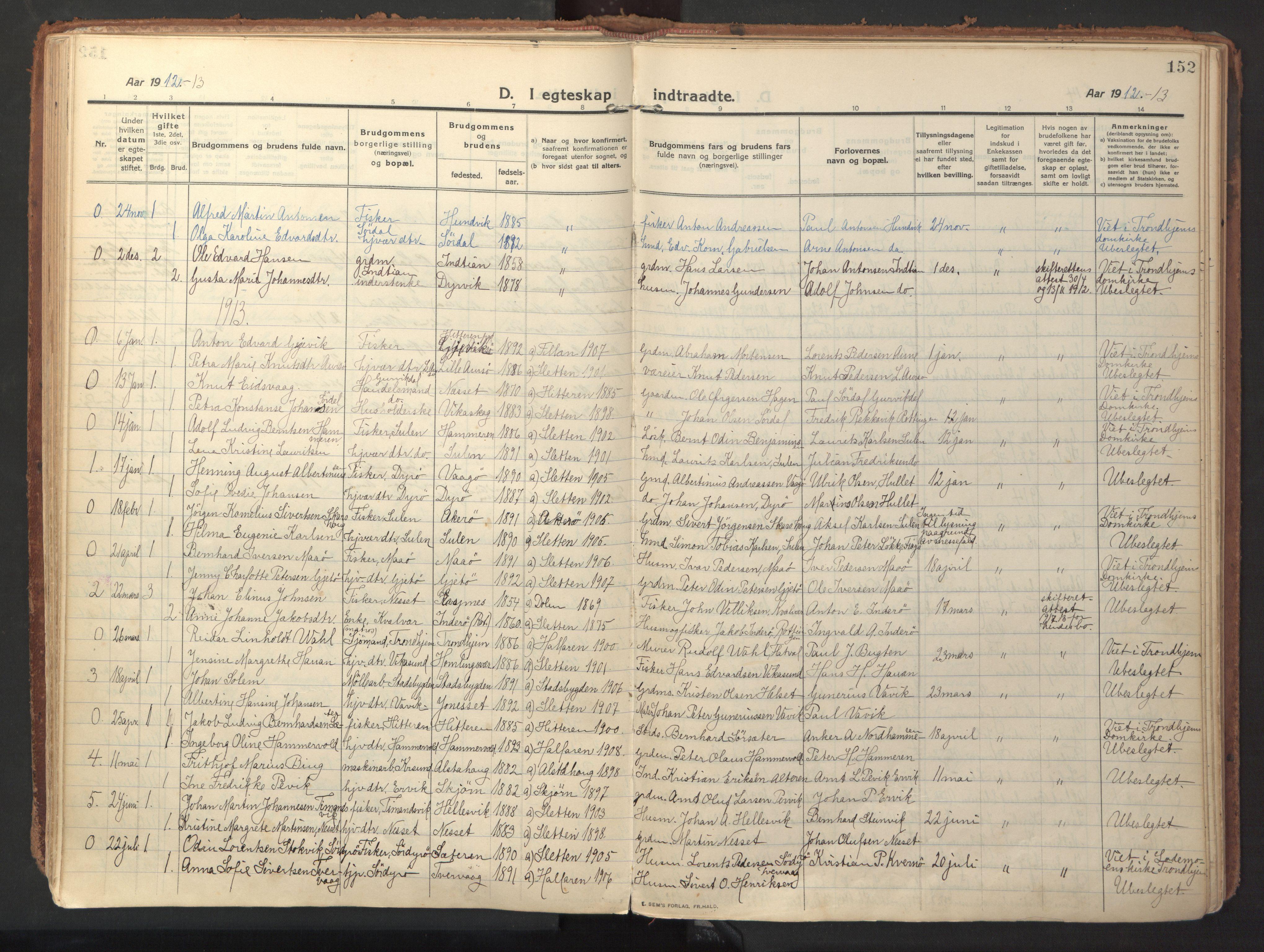SAT, Ministerialprotokoller, klokkerbøker og fødselsregistre - Sør-Trøndelag, 640/L0581: Ministerialbok nr. 640A06, 1910-1924, s. 152