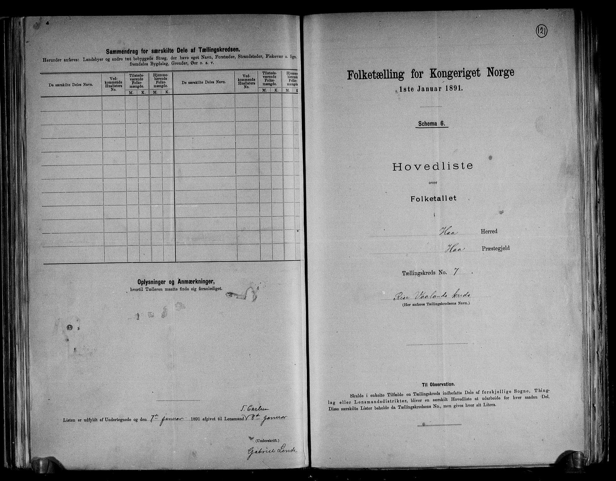 RA, Folketelling 1891 for 1119 Hå herred, 1891, s. 18