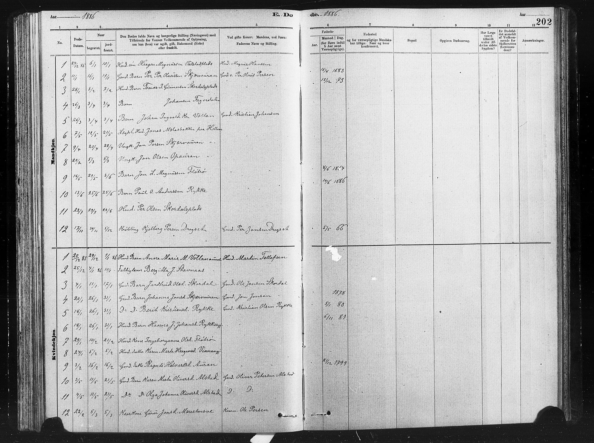 SAT, Ministerialprotokoller, klokkerbøker og fødselsregistre - Nord-Trøndelag, 712/L0103: Klokkerbok nr. 712C01, 1878-1917, s. 202