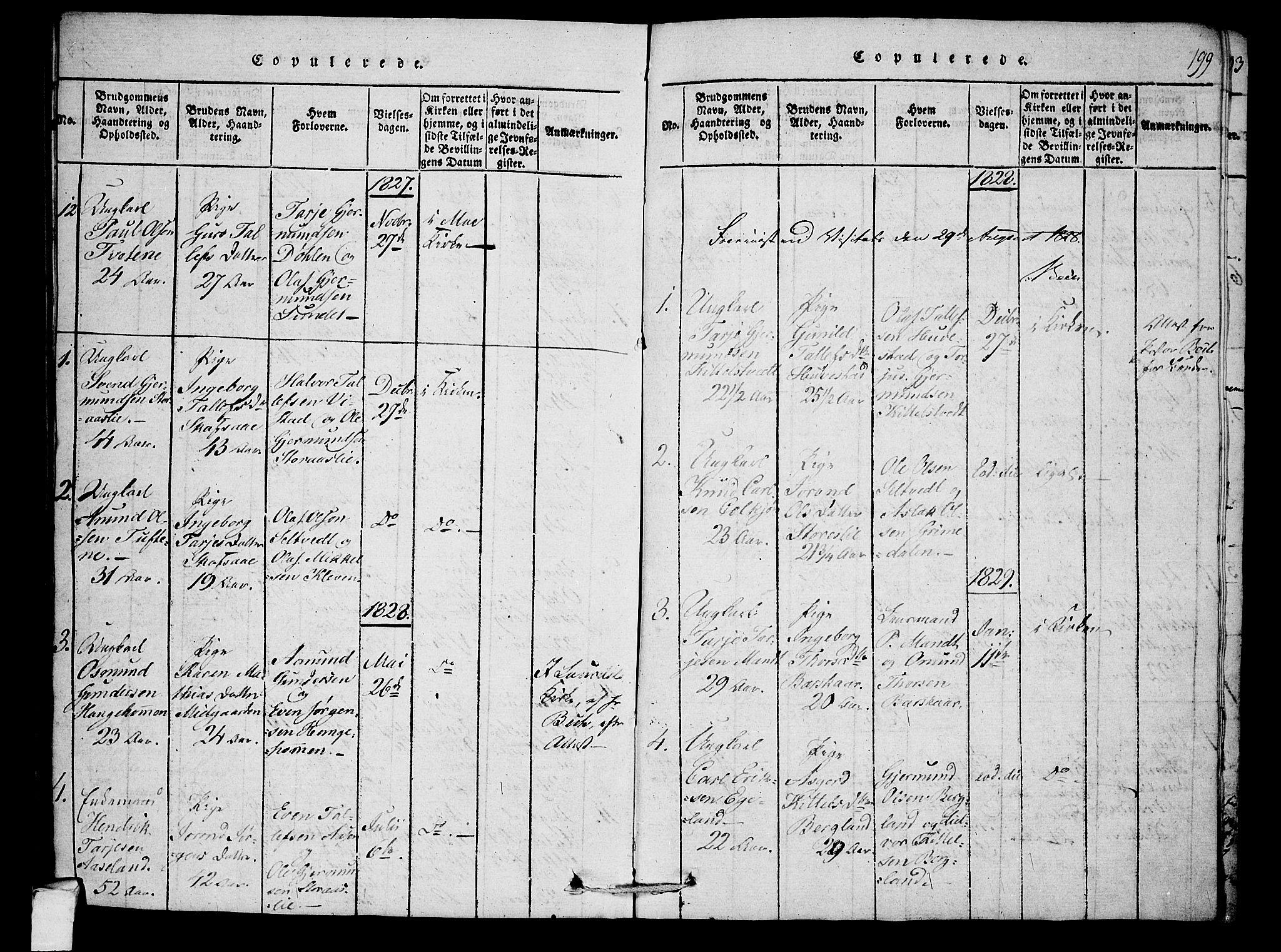 SAKO, Mo kirkebøker, F/Fb/L0001: Ministerialbok nr. II 1, 1814-1844, s. 199