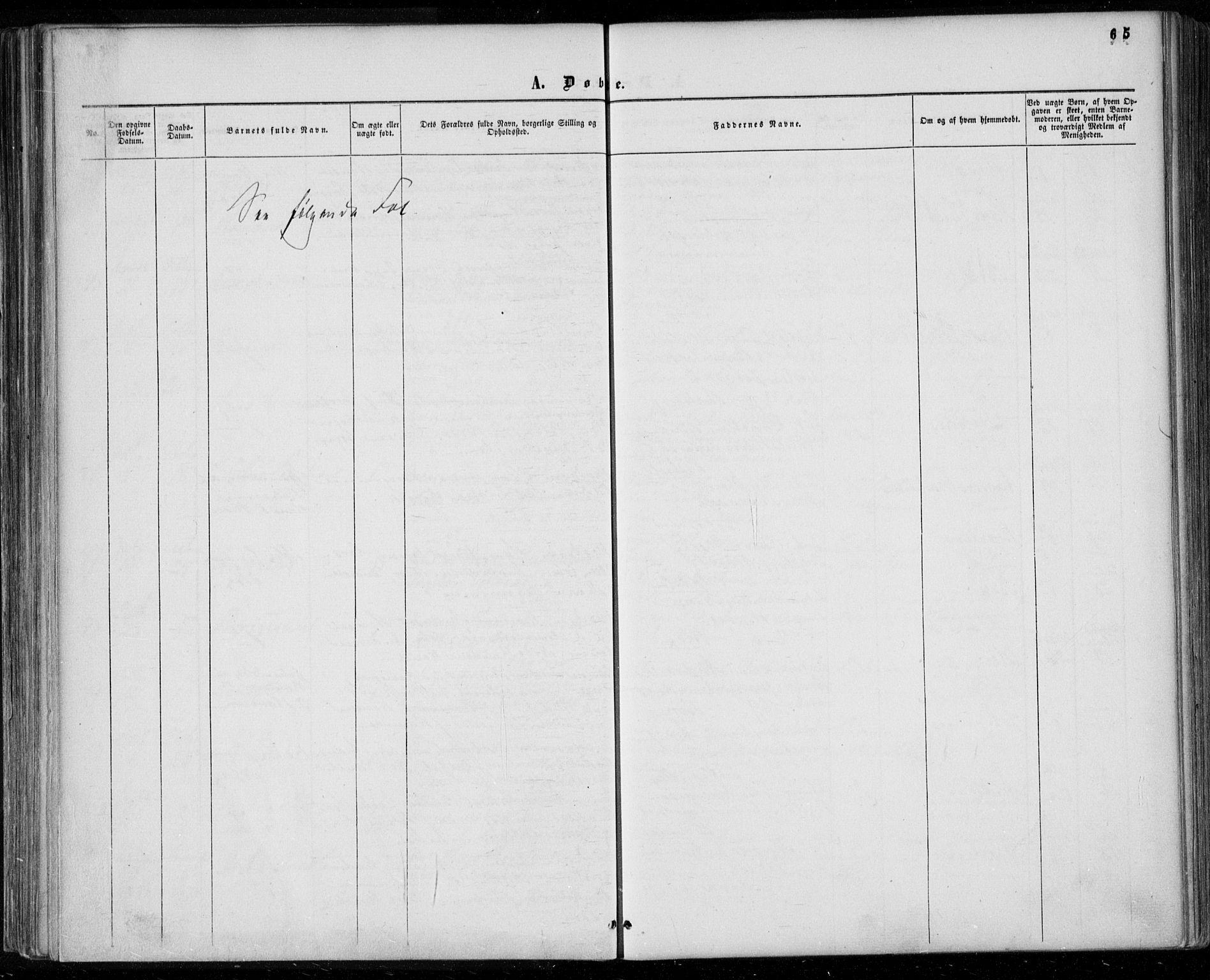 SAKO, Gjerpen kirkebøker, F/Fa/L0008a: Ministerialbok nr. 8A, 1857-1871, s. 65