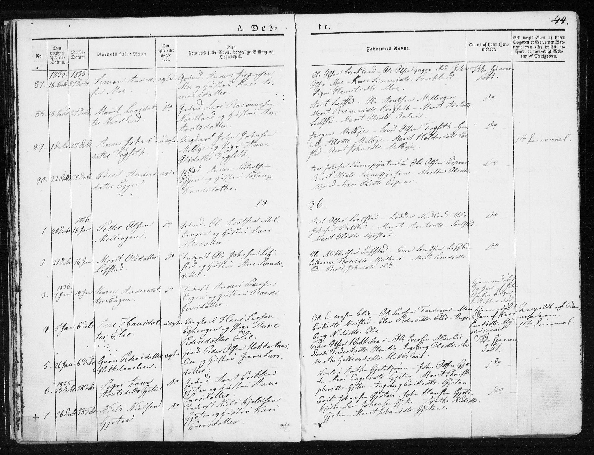 SAT, Ministerialprotokoller, klokkerbøker og fødselsregistre - Sør-Trøndelag, 665/L0771: Ministerialbok nr. 665A06, 1830-1856, s. 44