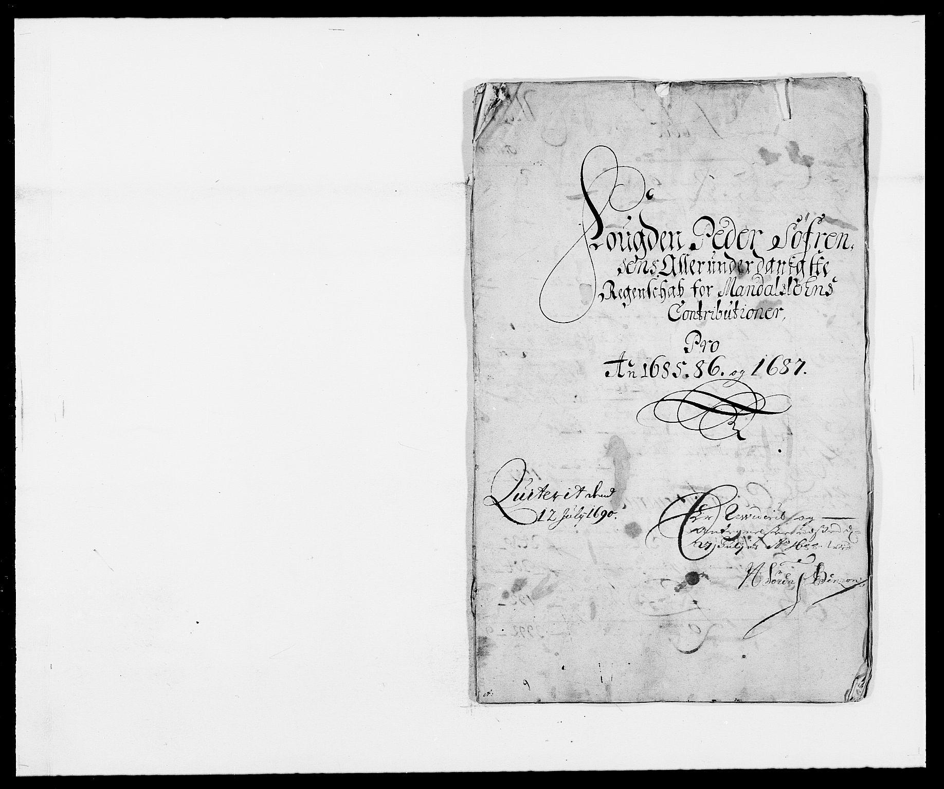 RA, Rentekammeret inntil 1814, Reviderte regnskaper, Fogderegnskap, R42/L2542: Mandal fogderi, 1685-1687, s. 1