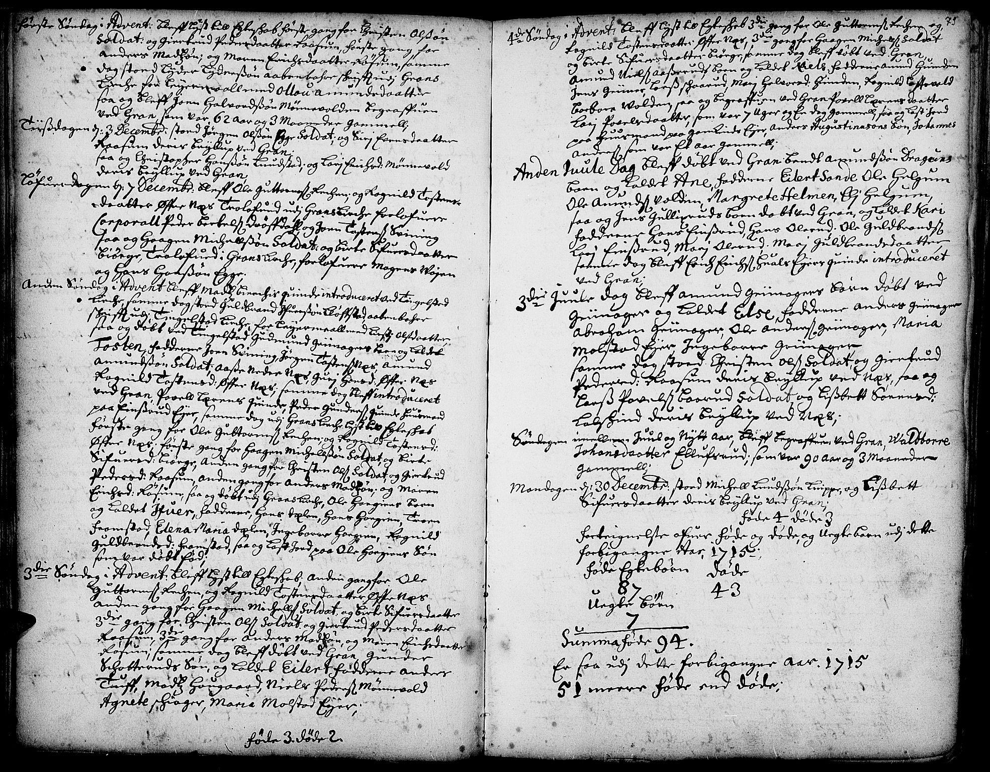 SAH, Gran prestekontor, Ministerialbok nr. 1, 1707-1731, s. 73
