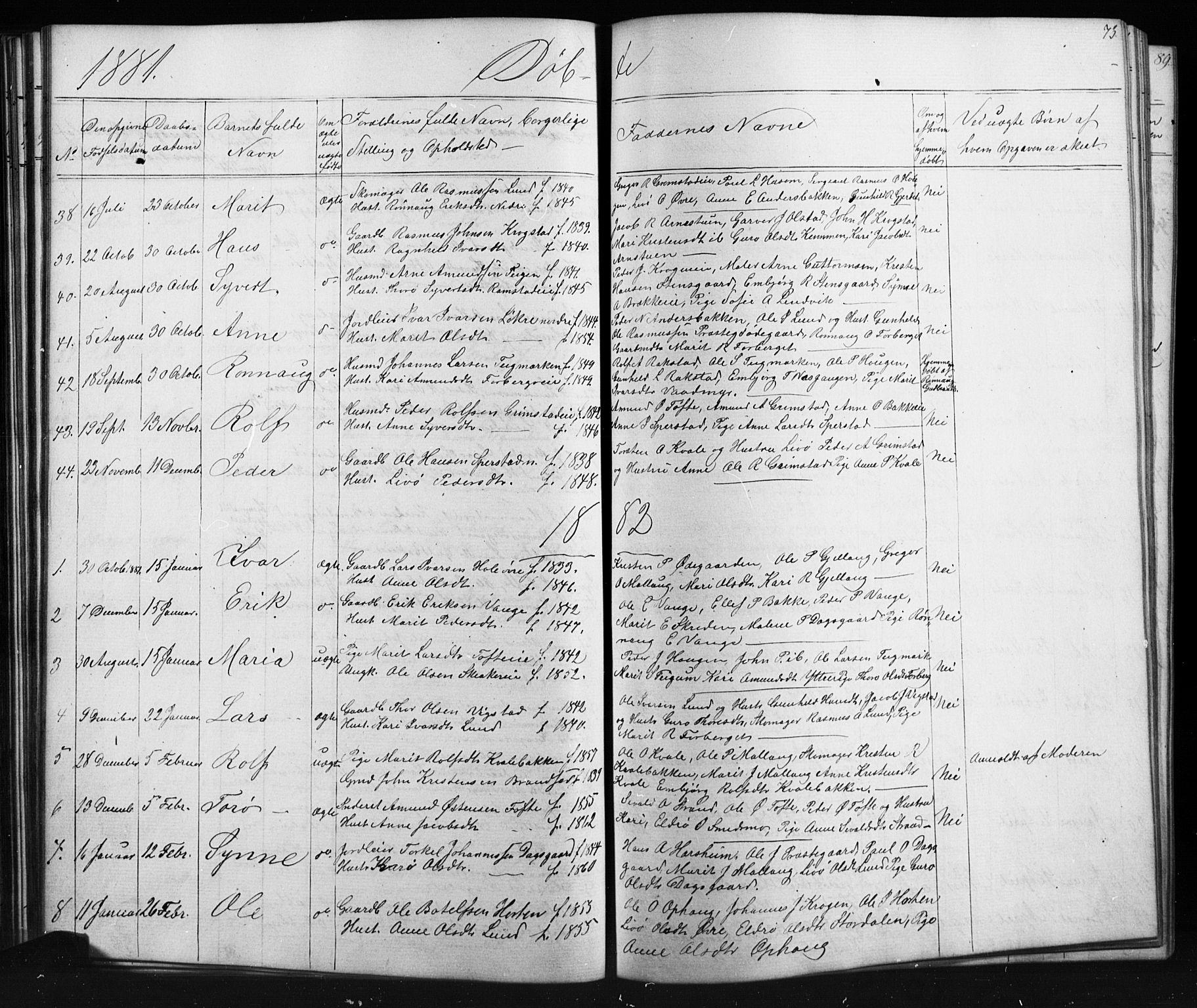 SAH, Skjåk prestekontor, Klokkerbok nr. 1, 1865-1893, s. 73