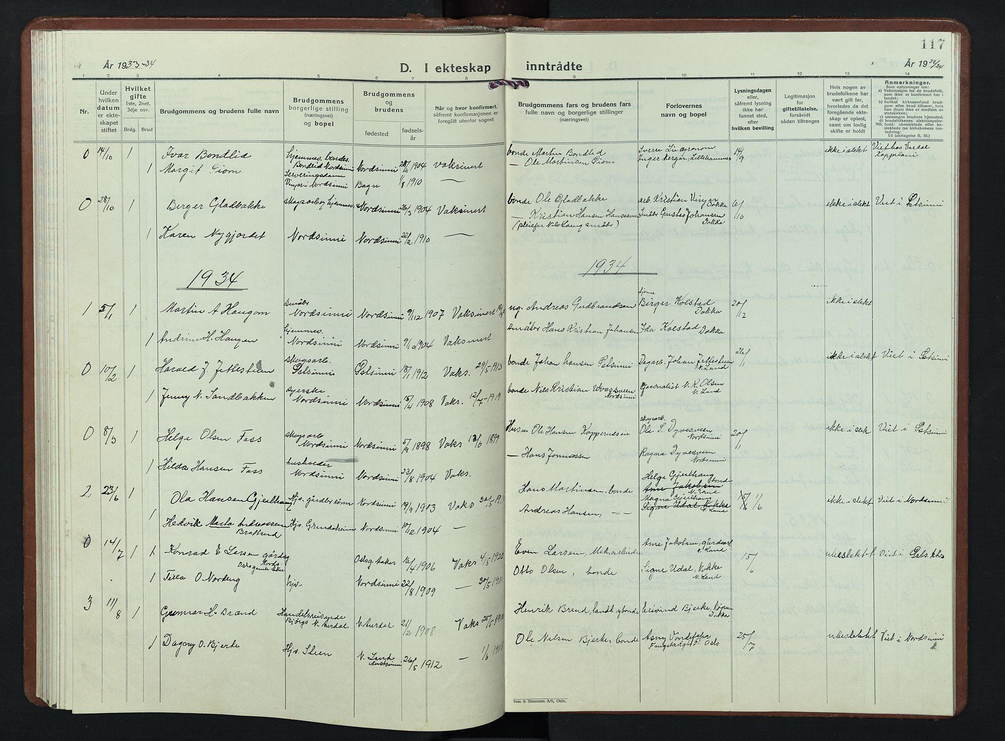 SAH, Nordre Land prestekontor, Klokkerbok nr. 7, 1930-1953, s. 117