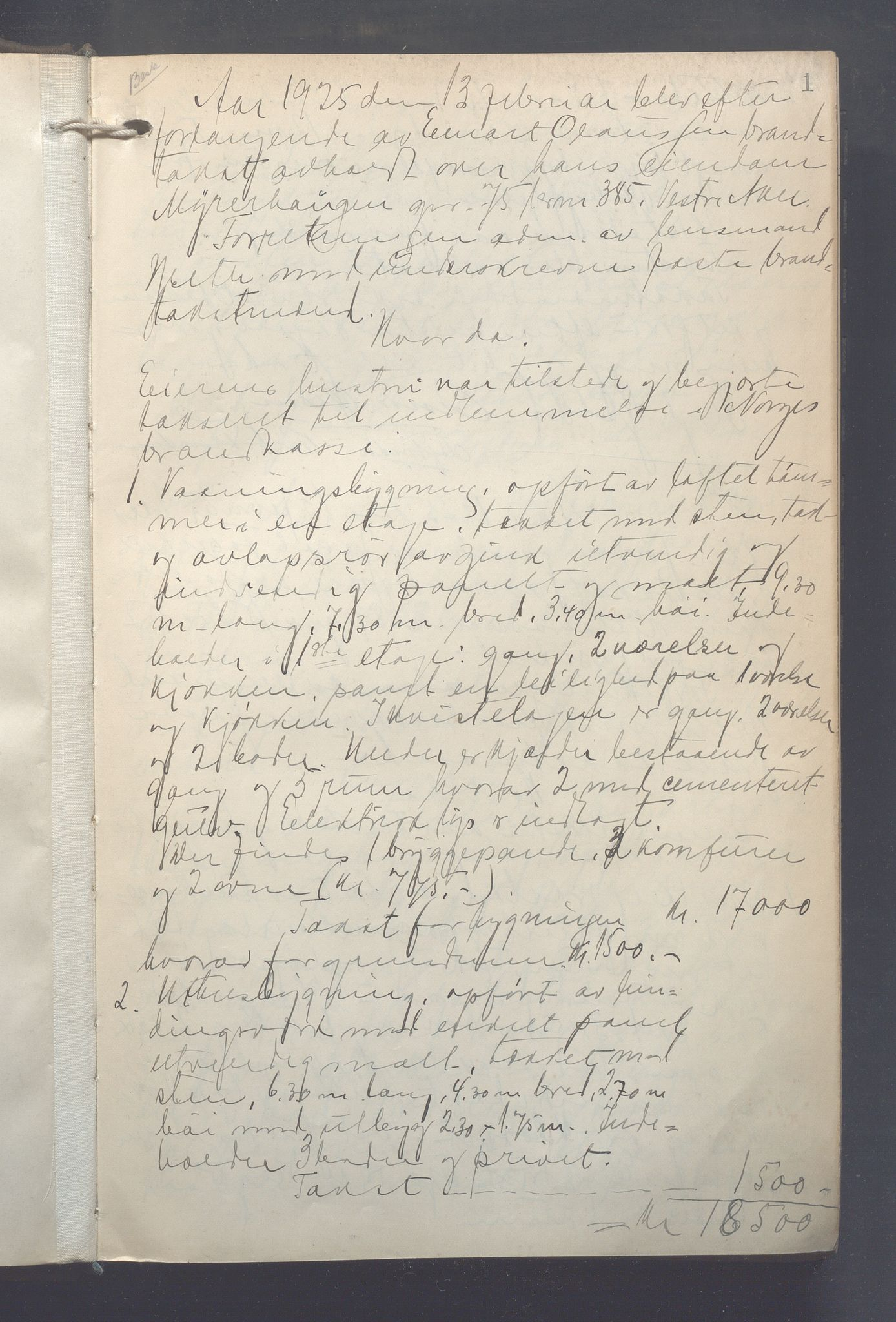 OBA, Lensmennene i Aker, F/Fa/L0023: Branntakstprotokoll, 1925-1929, s. 1