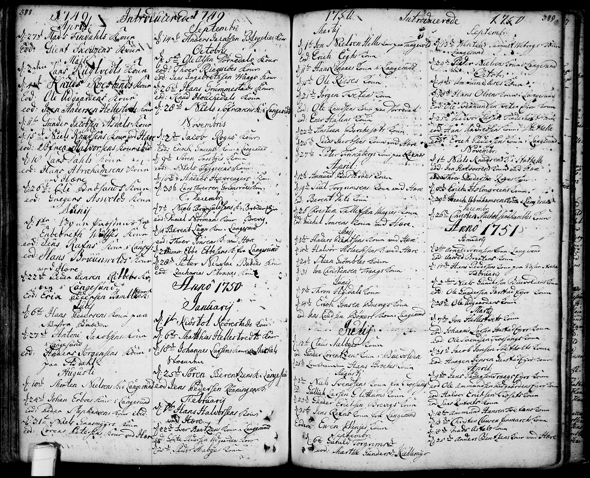 SAKO, Bamble kirkebøker, F/Fa/L0001: Ministerialbok nr. I 1, 1702-1774, s. 388-389