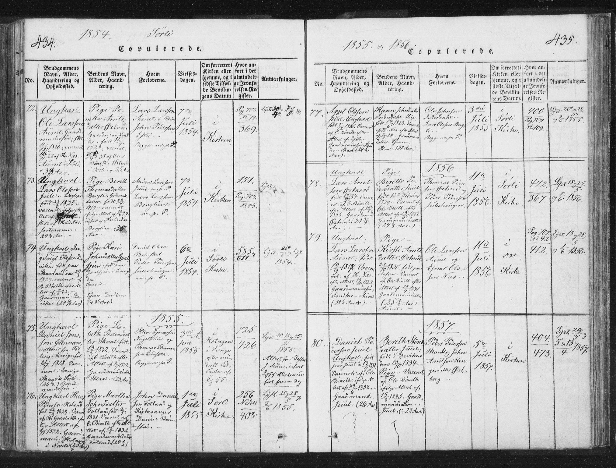 SAT, Ministerialprotokoller, klokkerbøker og fødselsregistre - Nord-Trøndelag, 755/L0491: Ministerialbok nr. 755A01 /2, 1817-1864, s. 434-435