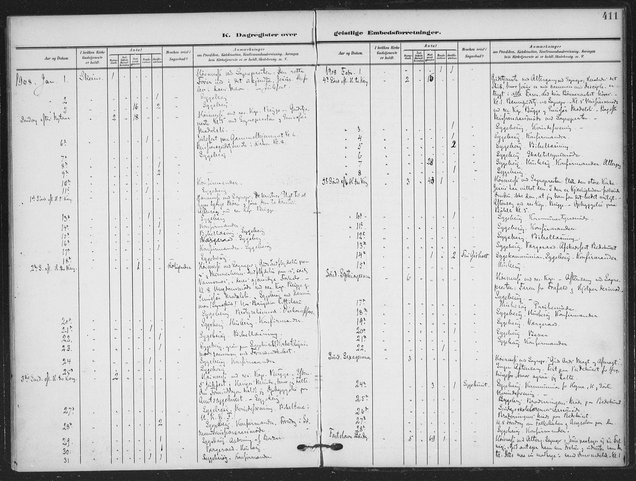 SAKO, Skien kirkebøker, F/Fa/L0012: Ministerialbok nr. 12, 1908-1914, s. 411