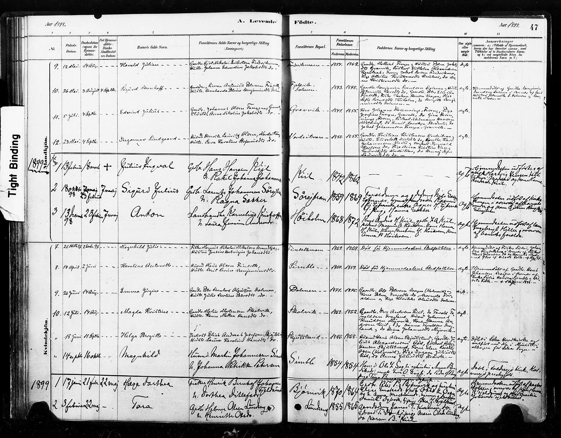 SAT, Ministerialprotokoller, klokkerbøker og fødselsregistre - Nord-Trøndelag, 789/L0705: Ministerialbok nr. 789A01, 1878-1910, s. 47
