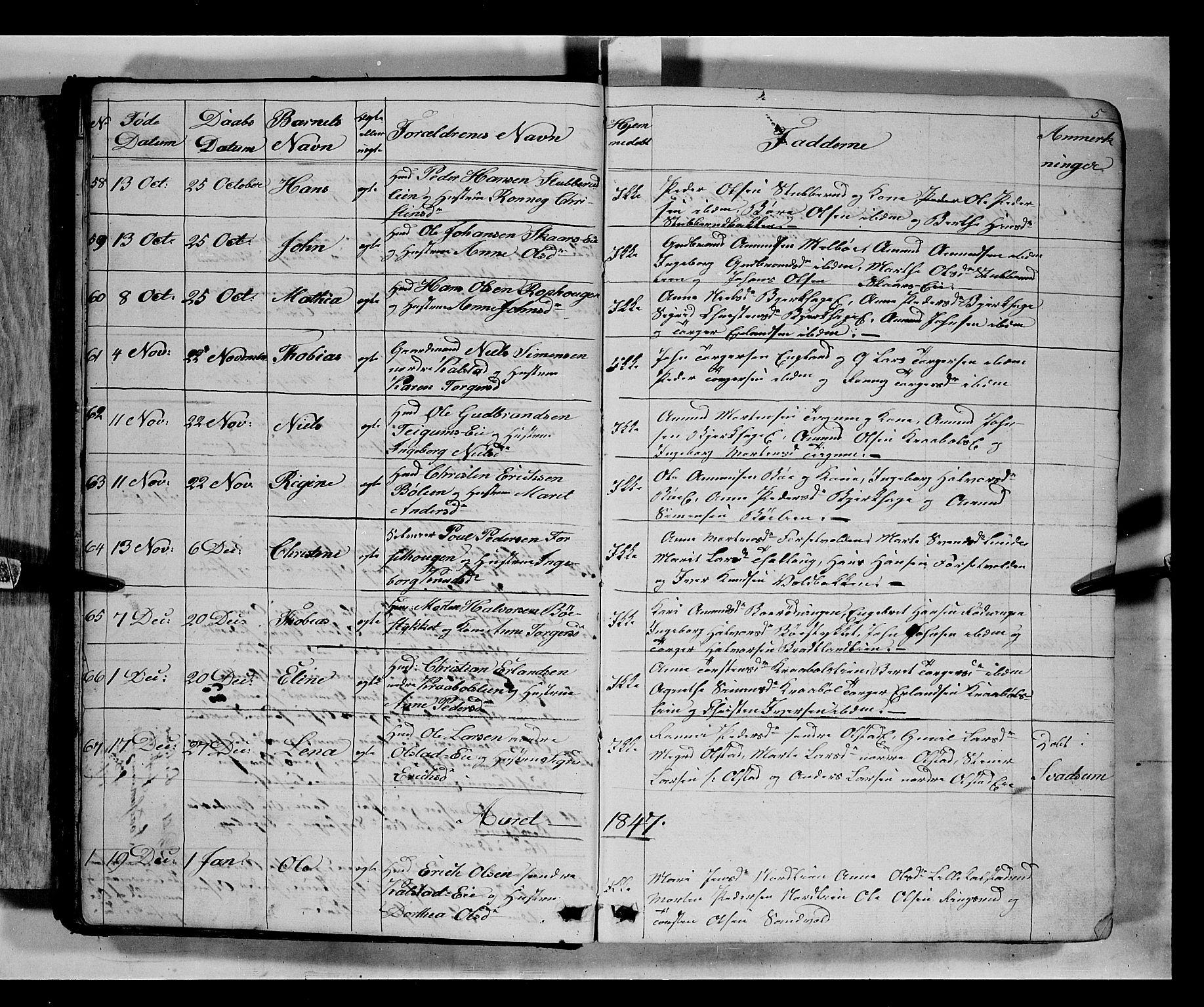 SAH, Gausdal prestekontor, Klokkerbok nr. 5, 1846-1867, s. 5