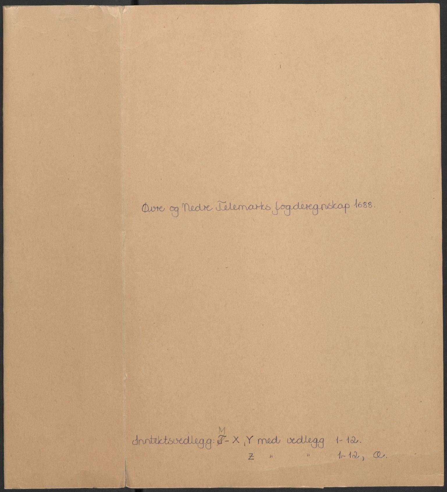 RA, Rentekammeret inntil 1814, Reviderte regnskaper, Fogderegnskap, R35/L2087: Fogderegnskap Øvre og Nedre Telemark, 1687-1689, s. 2