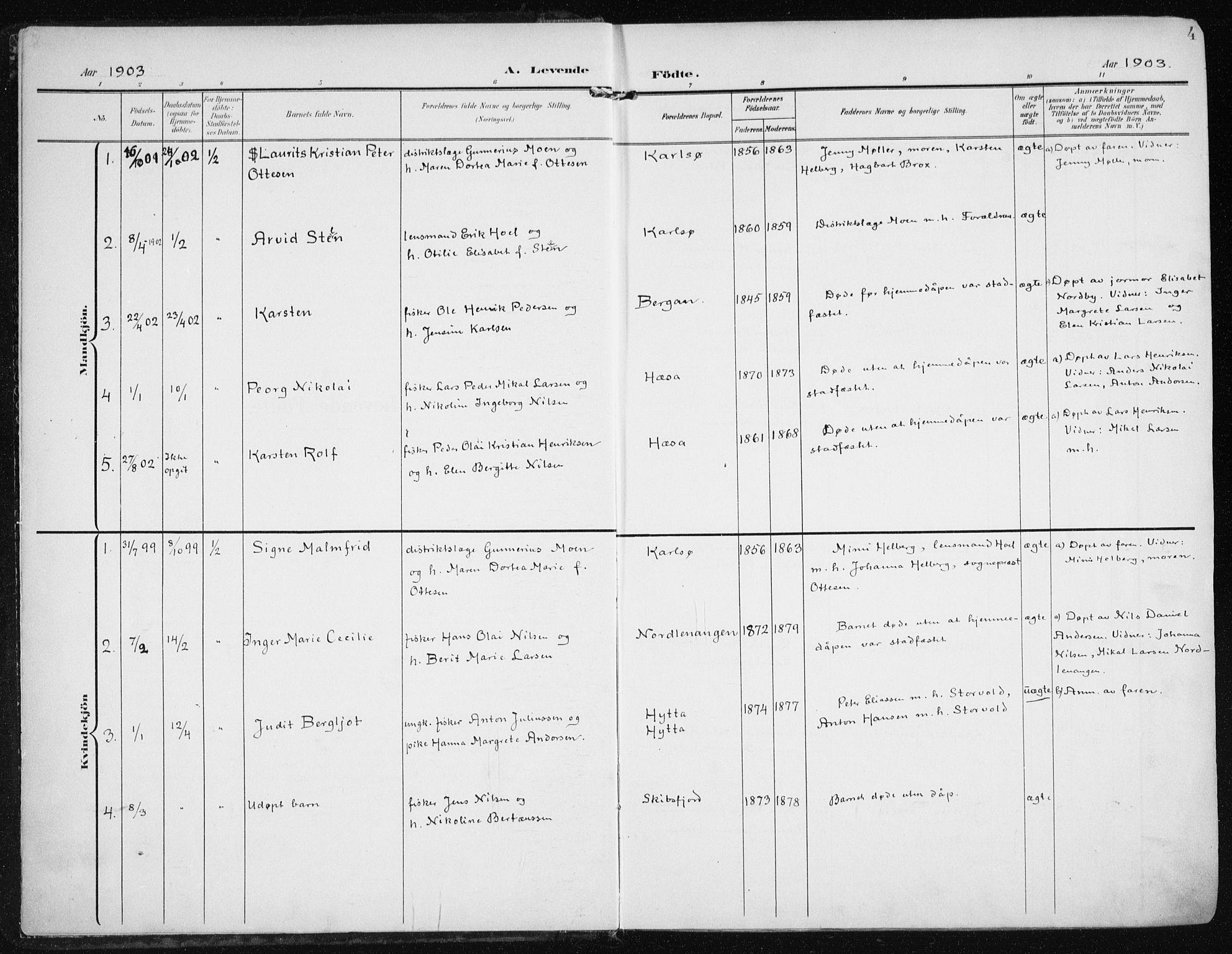 SATØ, Karlsøy sokneprestembete, H/Ha/Haa/L0014kirke: Ministerialbok nr. 14, 1903-1917, s. 4