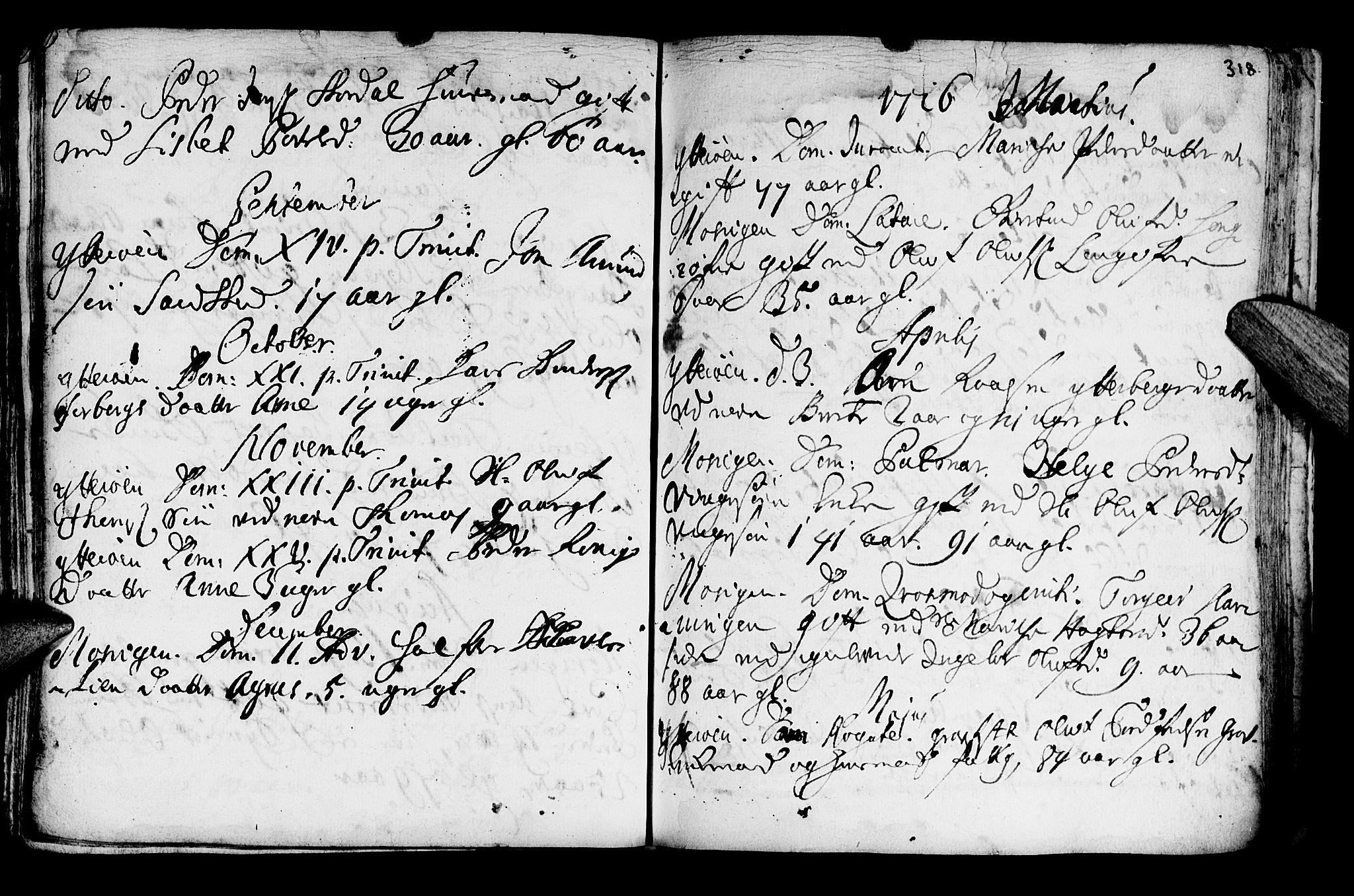 SAT, Ministerialprotokoller, klokkerbøker og fødselsregistre - Nord-Trøndelag, 722/L0215: Ministerialbok nr. 722A02, 1718-1755, s. 318