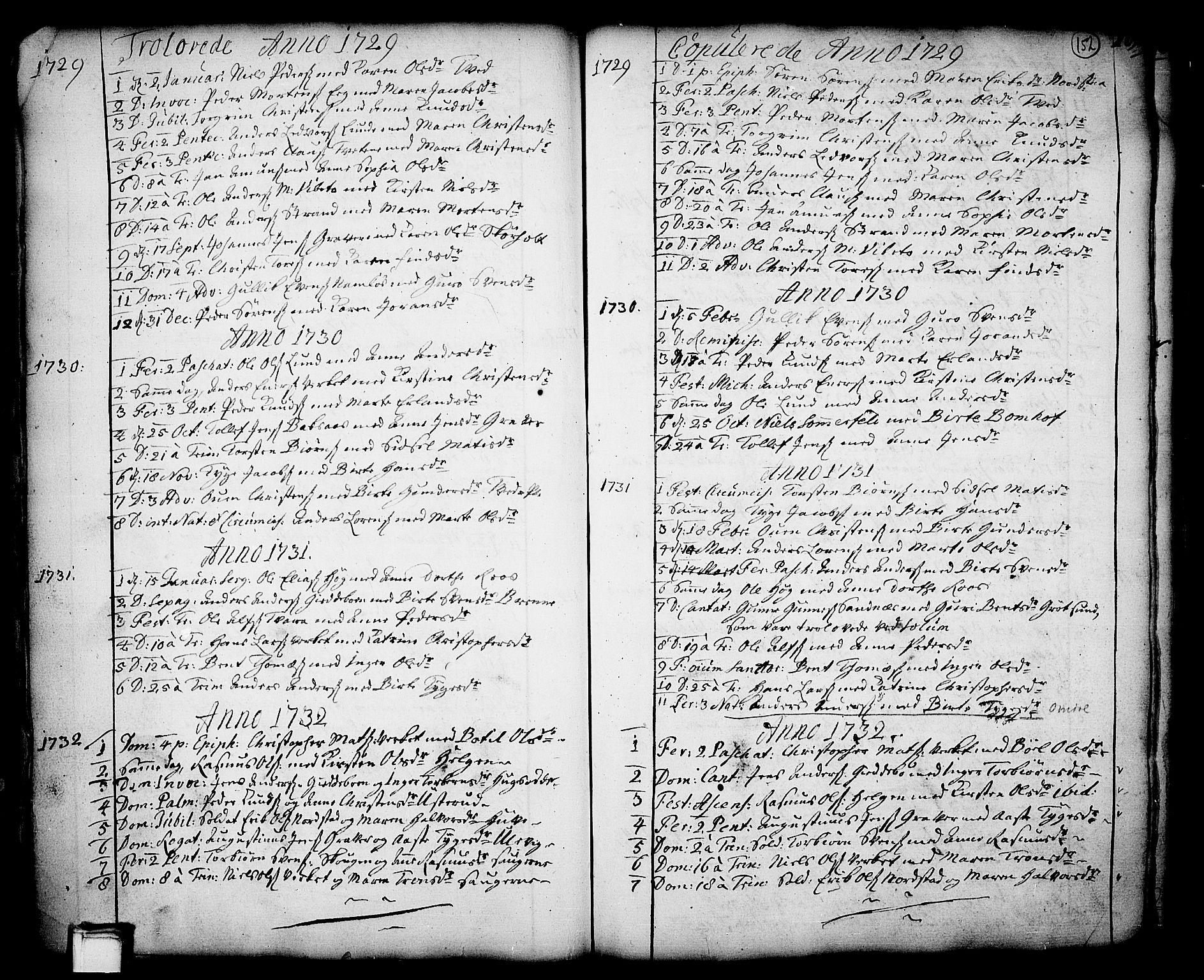 SAKO, Holla kirkebøker, F/Fa/L0001: Ministerialbok nr. 1, 1717-1779, s. 152