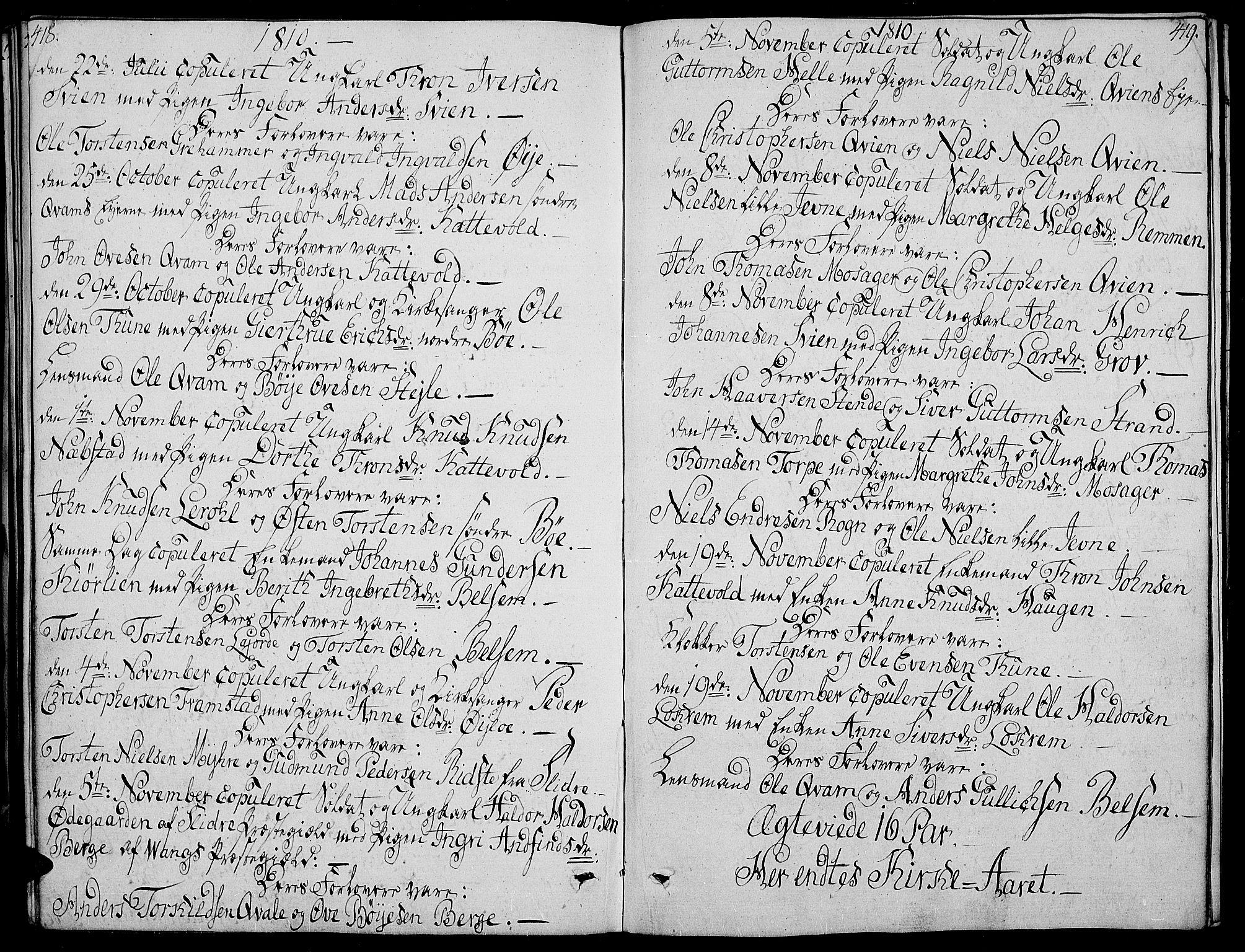 SAH, Vang prestekontor, Valdres, Ministerialbok nr. 3, 1809-1831, s. 418-419