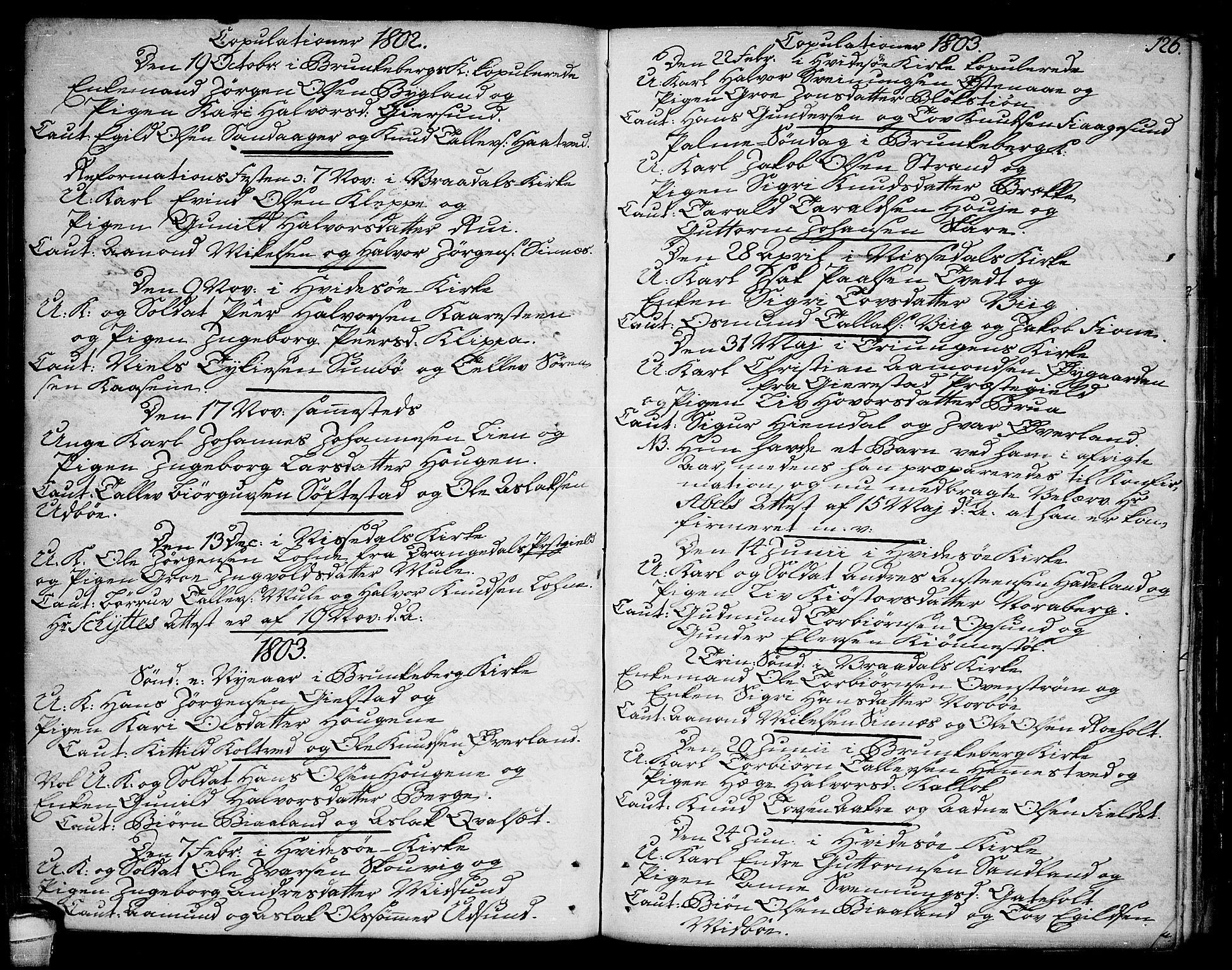 SAKO, Kviteseid kirkebøker, F/Fa/L0004: Ministerialbok nr. I 4, 1800-1814, s. 126