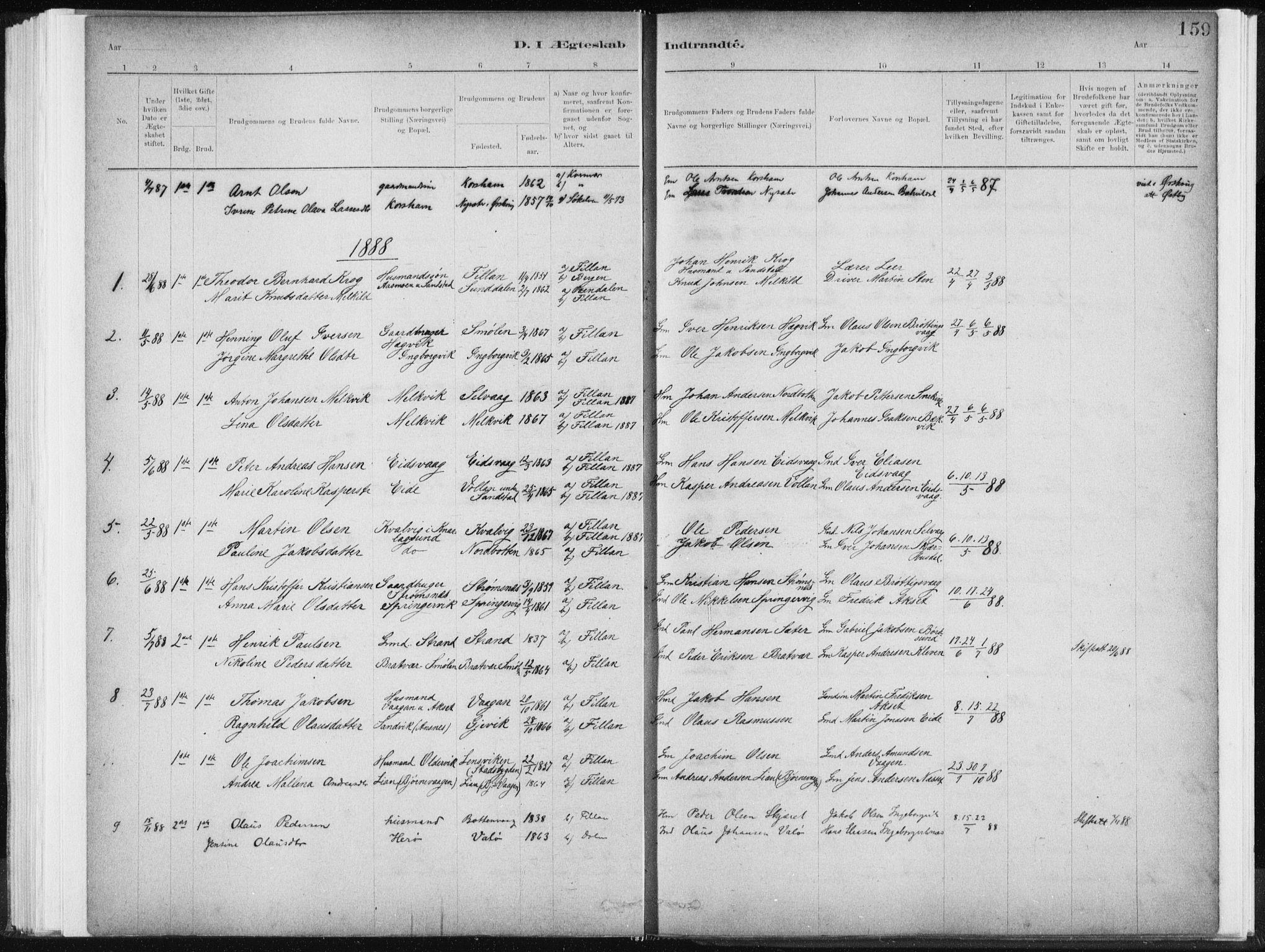 SAT, Ministerialprotokoller, klokkerbøker og fødselsregistre - Sør-Trøndelag, 637/L0558: Ministerialbok nr. 637A01, 1882-1899, s. 159