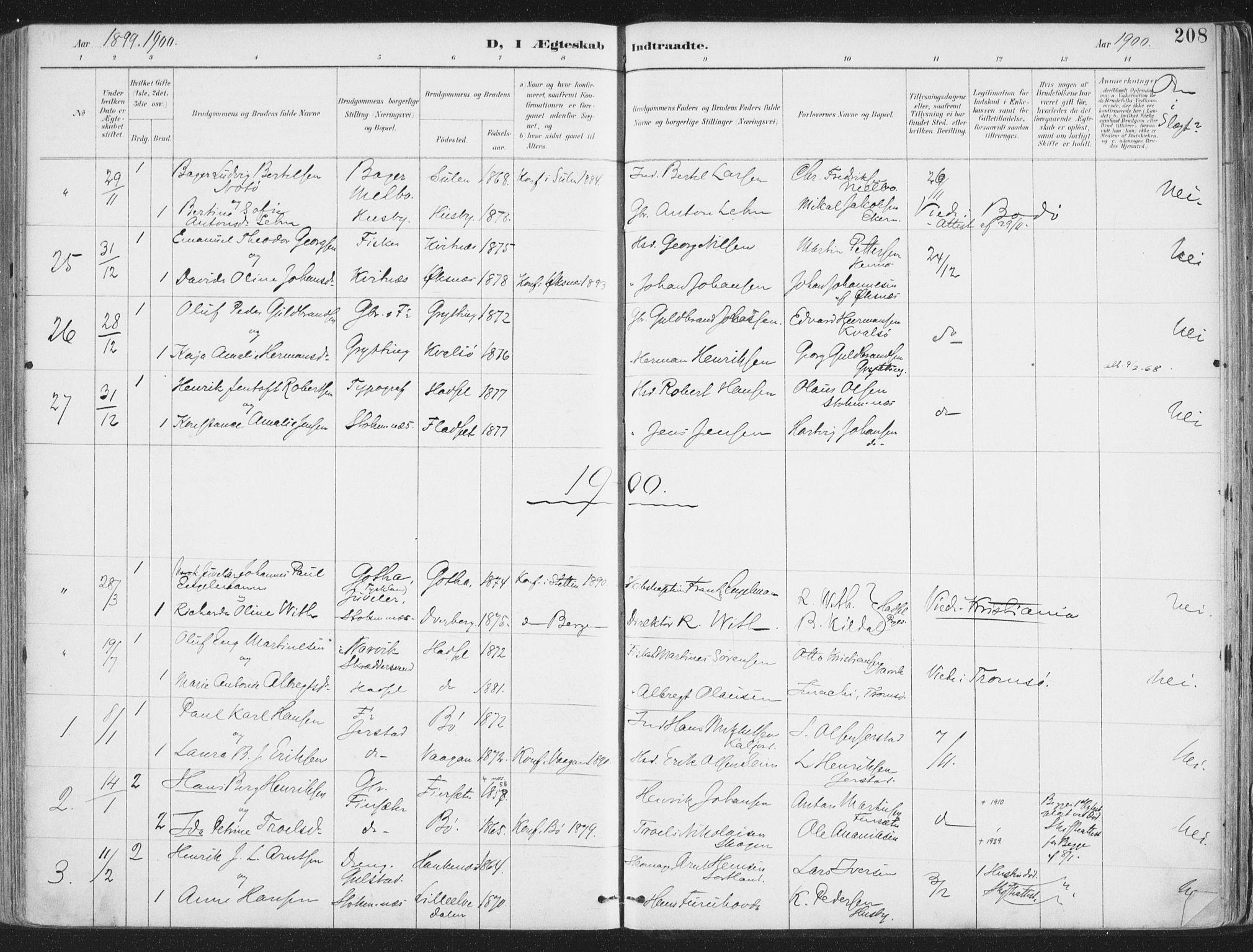 SAT, Ministerialprotokoller, klokkerbøker og fødselsregistre - Nordland, 888/L1246: Ministerialbok nr. 888A12, 1891-1903, s. 208