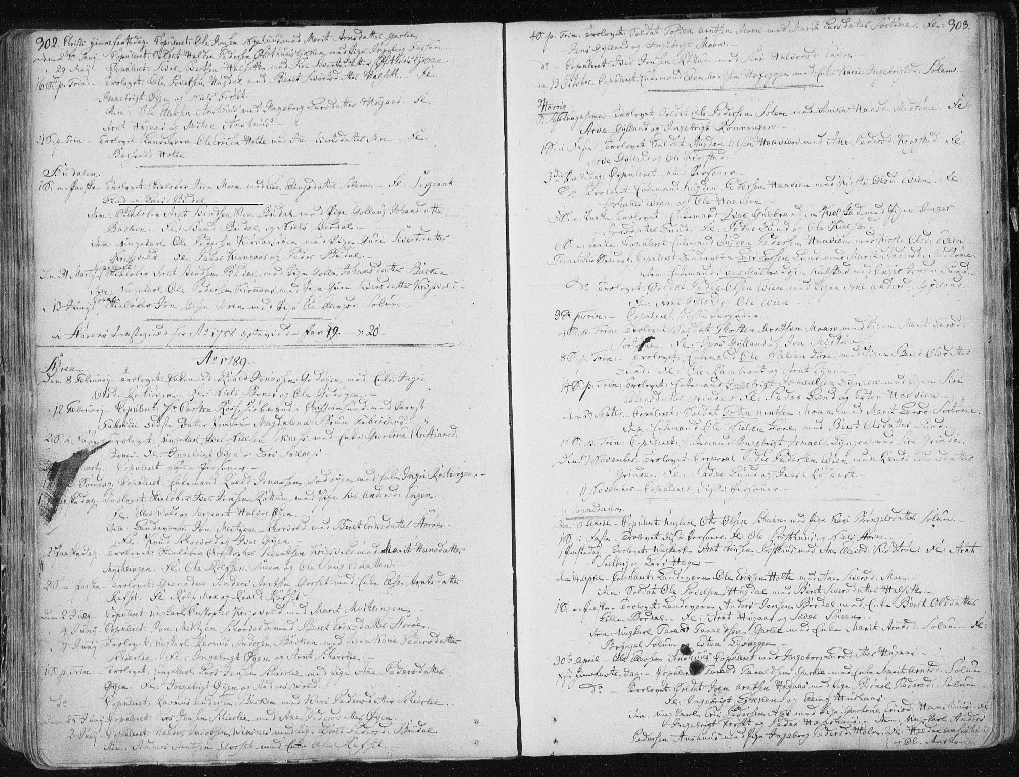 SAT, Ministerialprotokoller, klokkerbøker og fødselsregistre - Sør-Trøndelag, 687/L0992: Ministerialbok nr. 687A03 /1, 1788-1815, s. 302-303