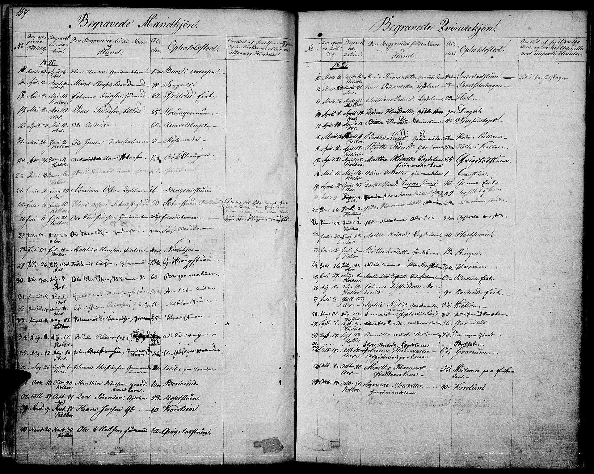 SAH, Vestre Toten prestekontor, Ministerialbok nr. 2, 1825-1837, s. 157