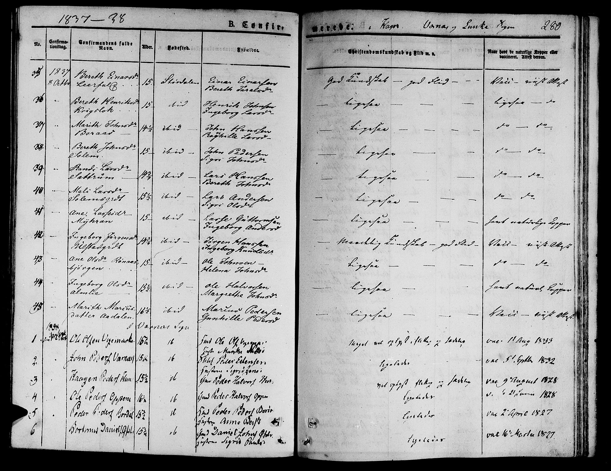 SAT, Ministerialprotokoller, klokkerbøker og fødselsregistre - Nord-Trøndelag, 709/L0071: Ministerialbok nr. 709A11, 1833-1844, s. 280