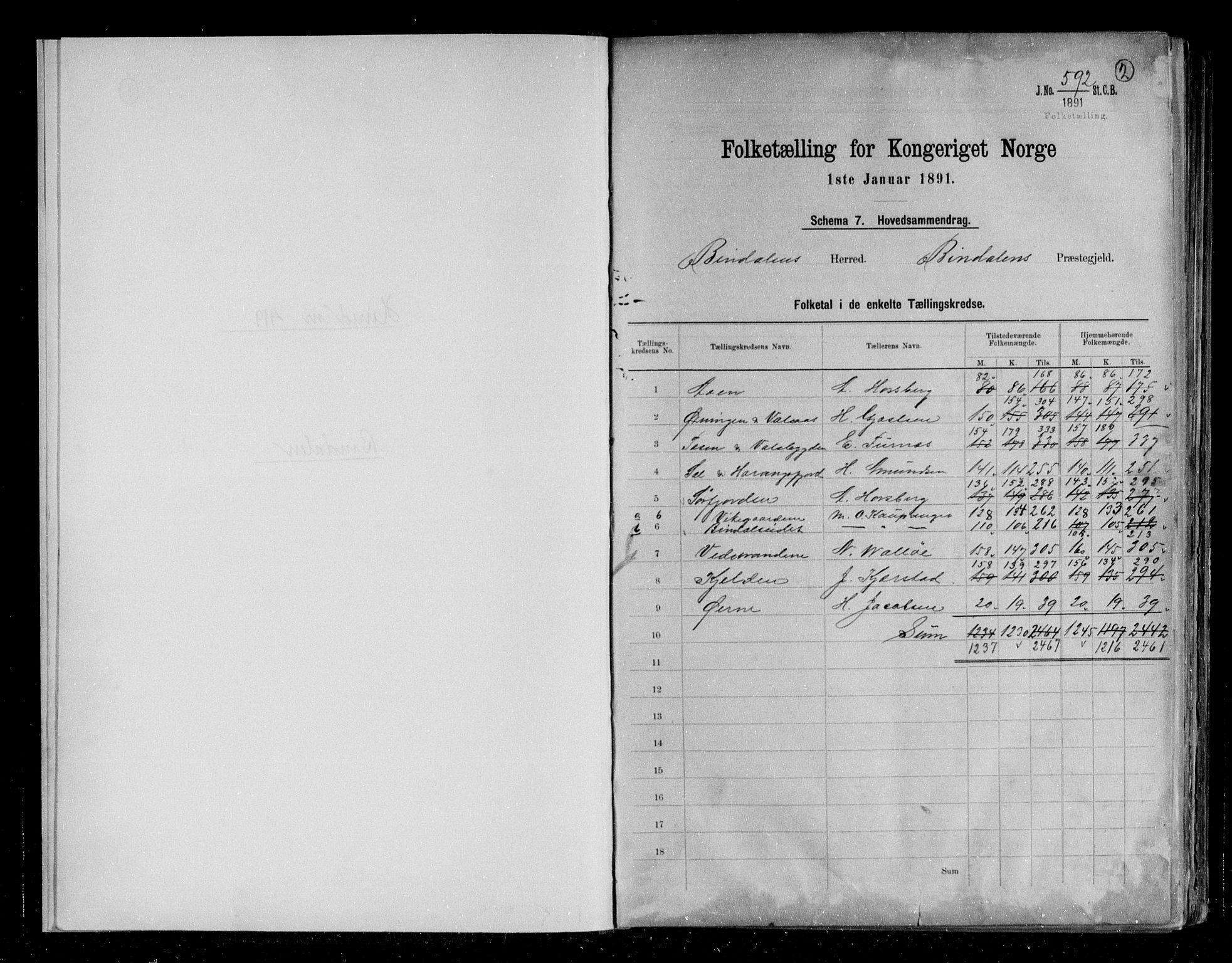RA, Folketelling 1891 for 1811 Bindal herred, 1891, s. 2