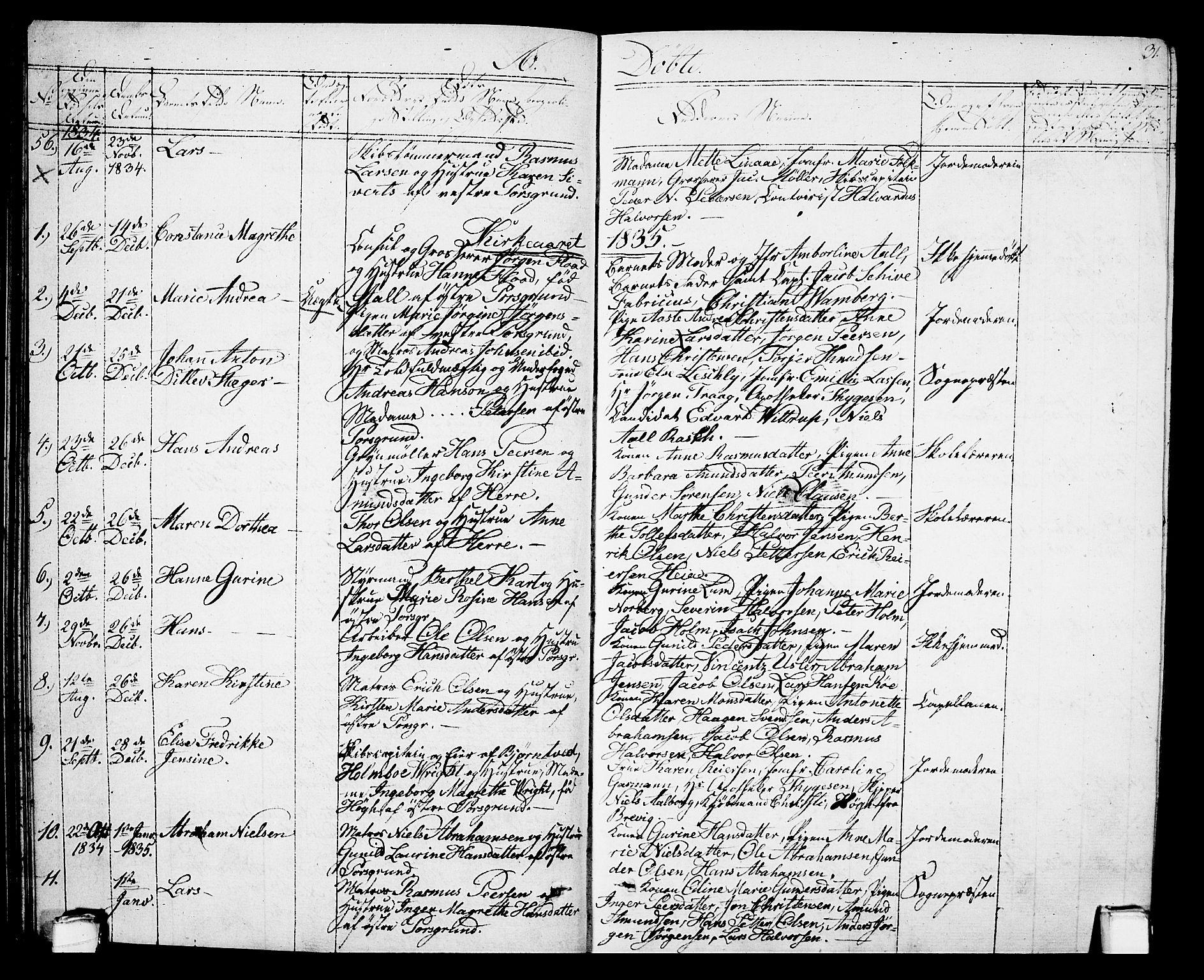SAKO, Porsgrunn kirkebøker , G/Gb/L0002: Klokkerbok nr. II 2, 1828-1841, s. 31
