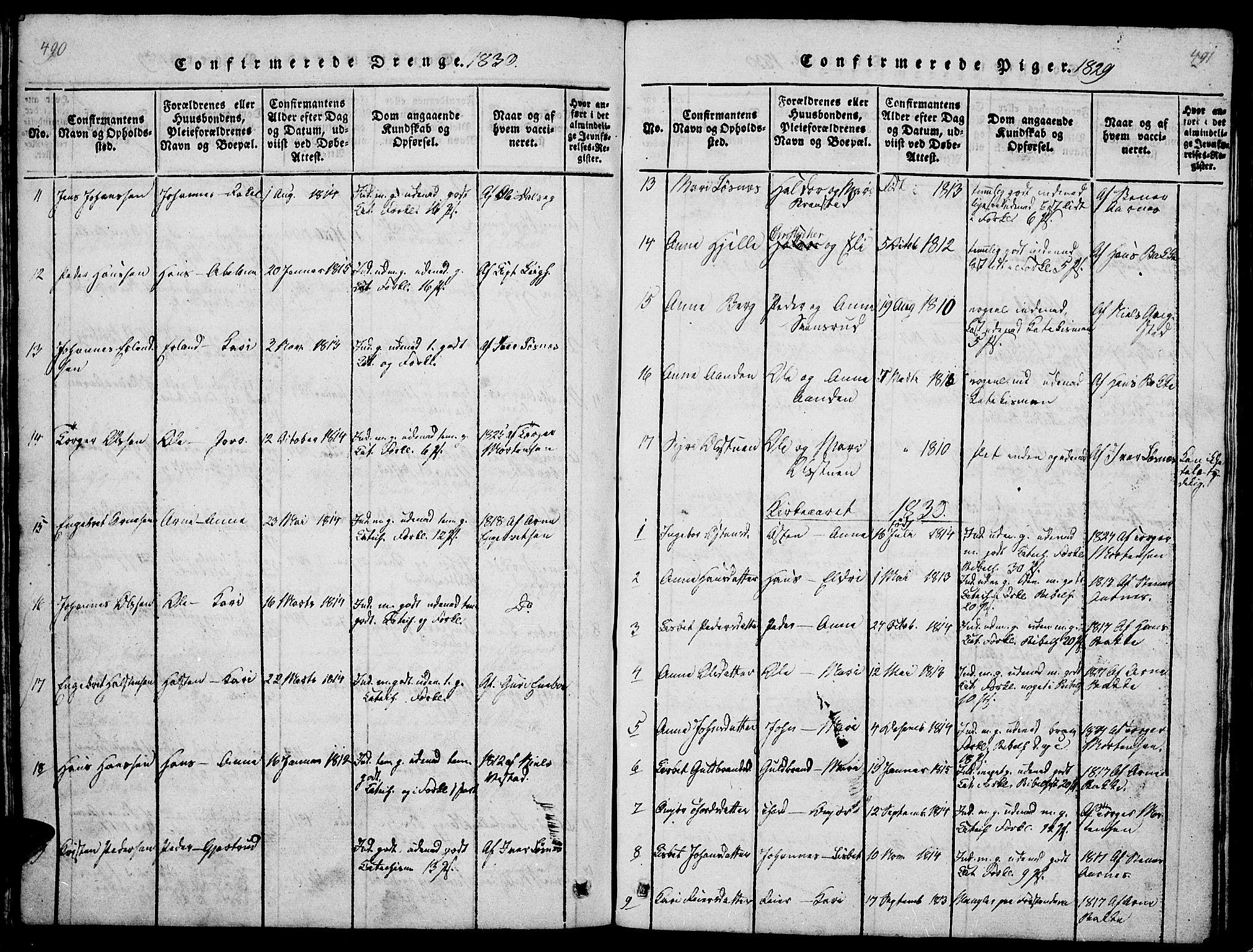 SAH, Ringebu prestekontor, Klokkerbok nr. 1, 1821-1839, s. 490-491