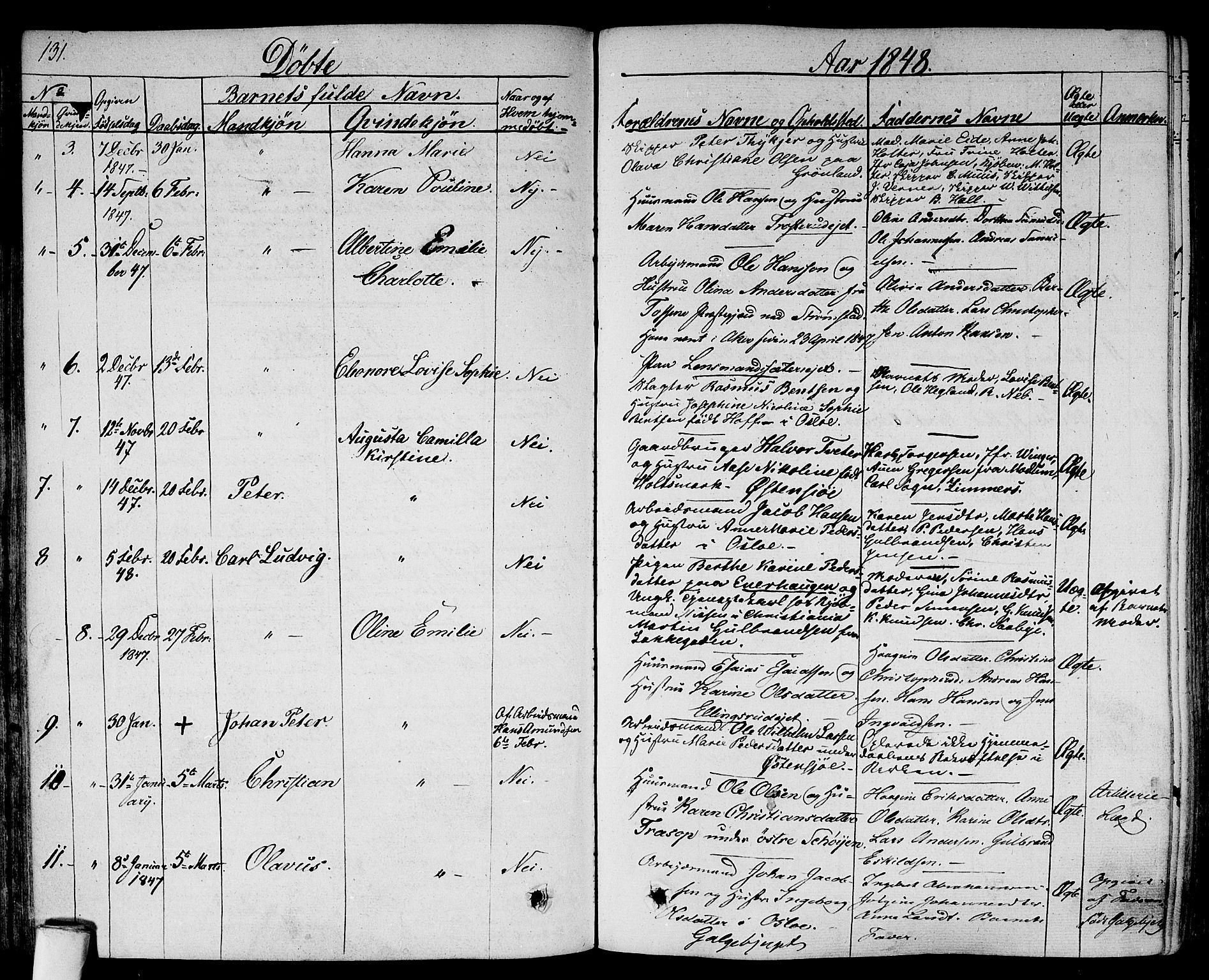 SAO, Gamlebyen prestekontor Kirkebøker, F/Fa/L0003: Ministerialbok nr. 3, 1829-1849, s. 131