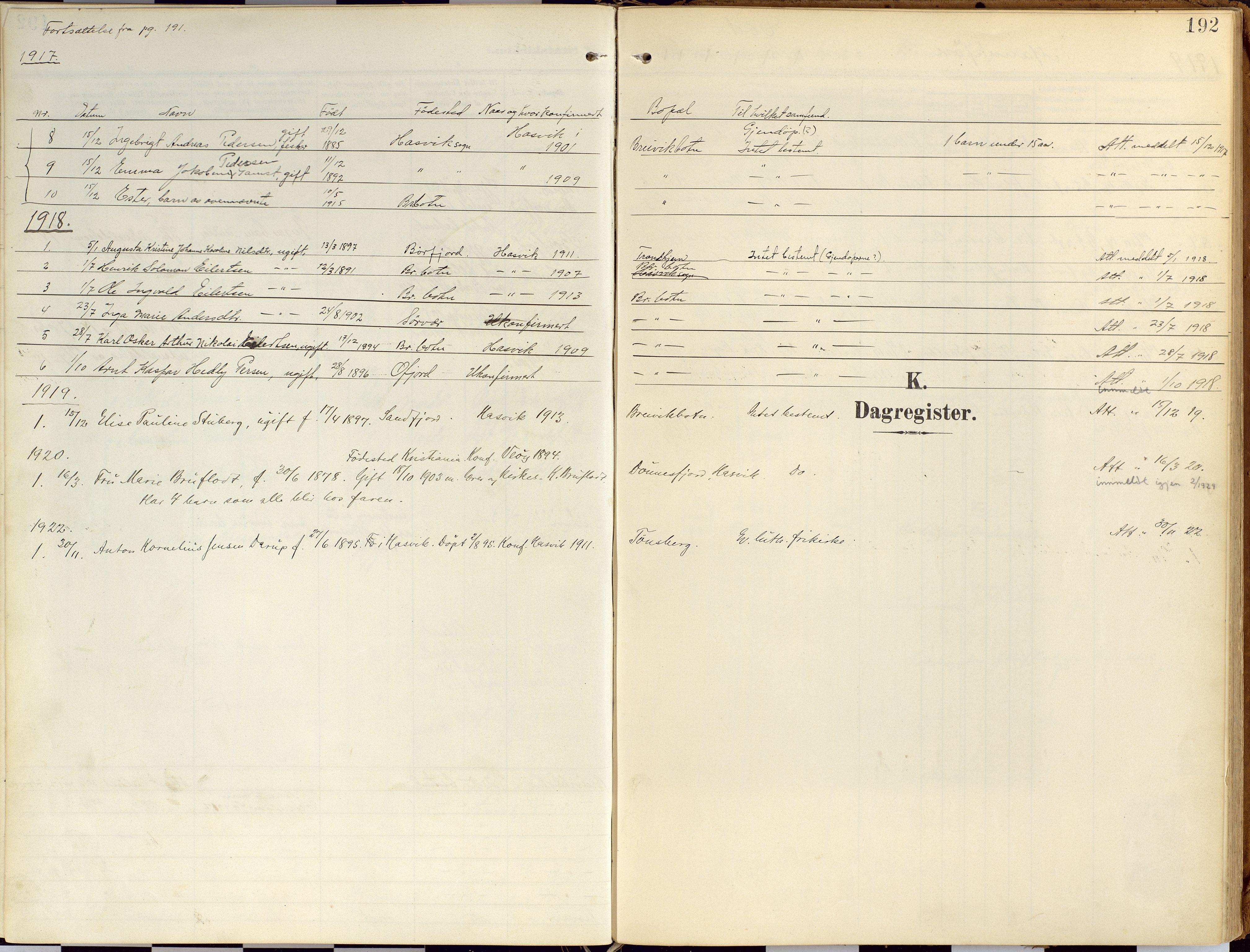 SATØ, Loppa sokneprestkontor, H/Ha/L0010kirke: Ministerialbok nr. 10, 1907-1922, s. 192